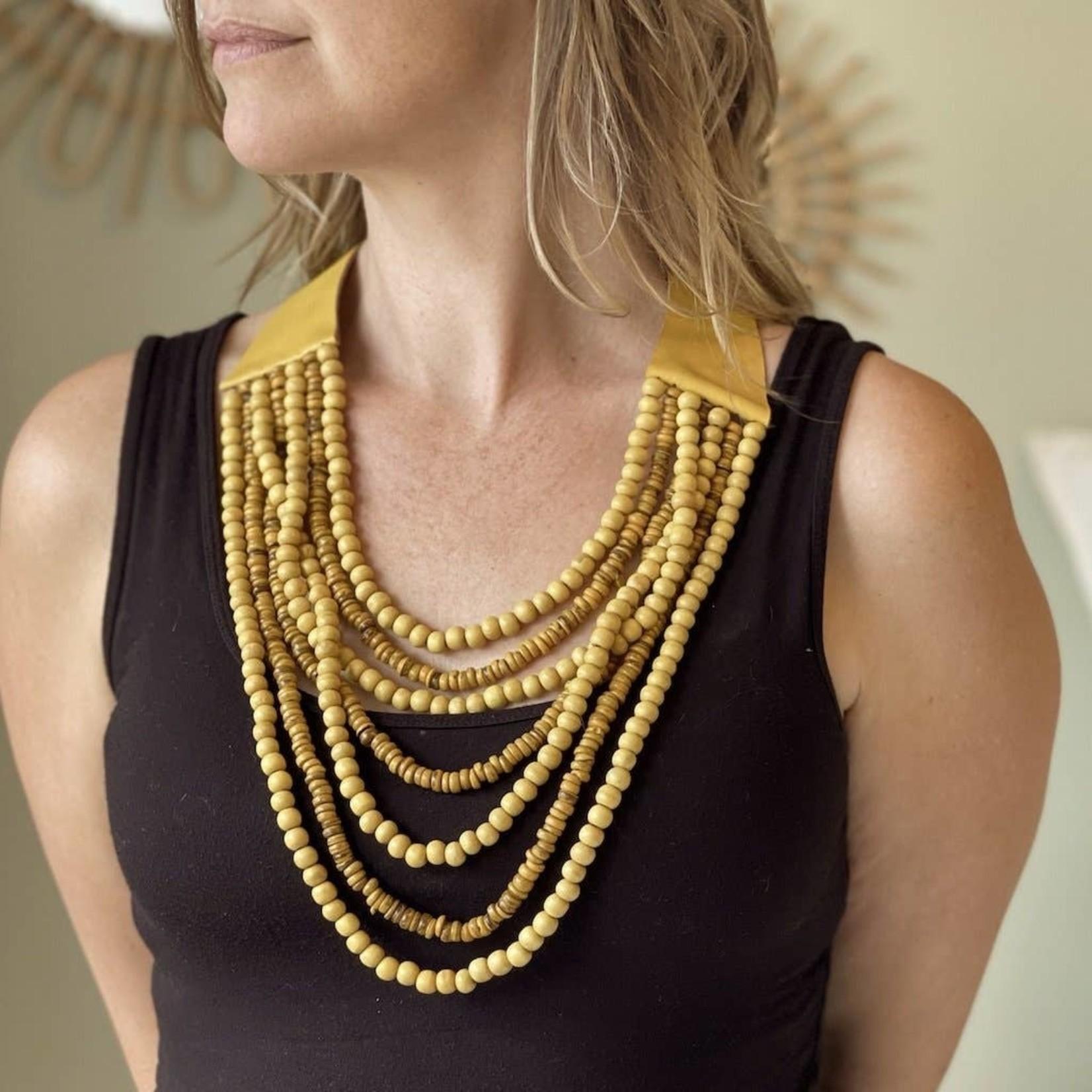 Suzie Blue Canada Mustard Wood Bead Necklace w/Leather Collar