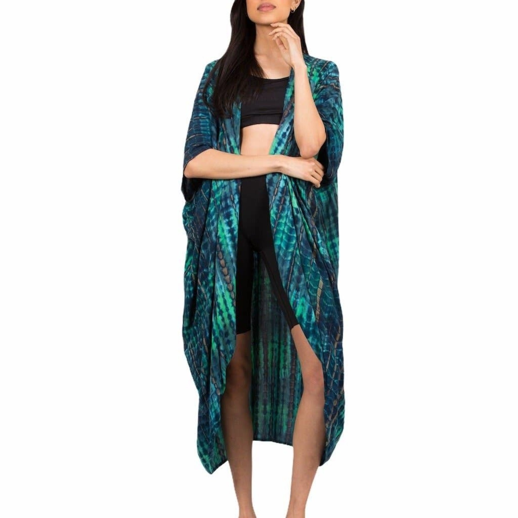 Suzie Blue Canada Green and Blue Tie Dye Print Kimono
