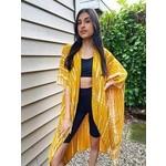 Suzie Blue Canada Yellow and Cream Tie Dye Print Kimono