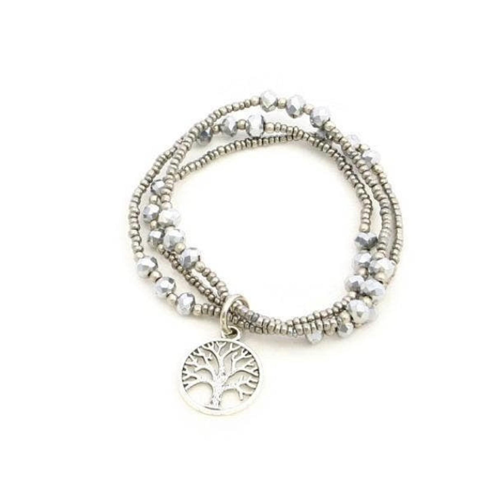 Suzie Blue Canada Tree of Life Triple Strand Slvr Pltd Bracelet