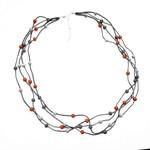 Suzie Blue Canada Orange & Grey Multi-Str Long Suede Nckl w/Wooden Balls