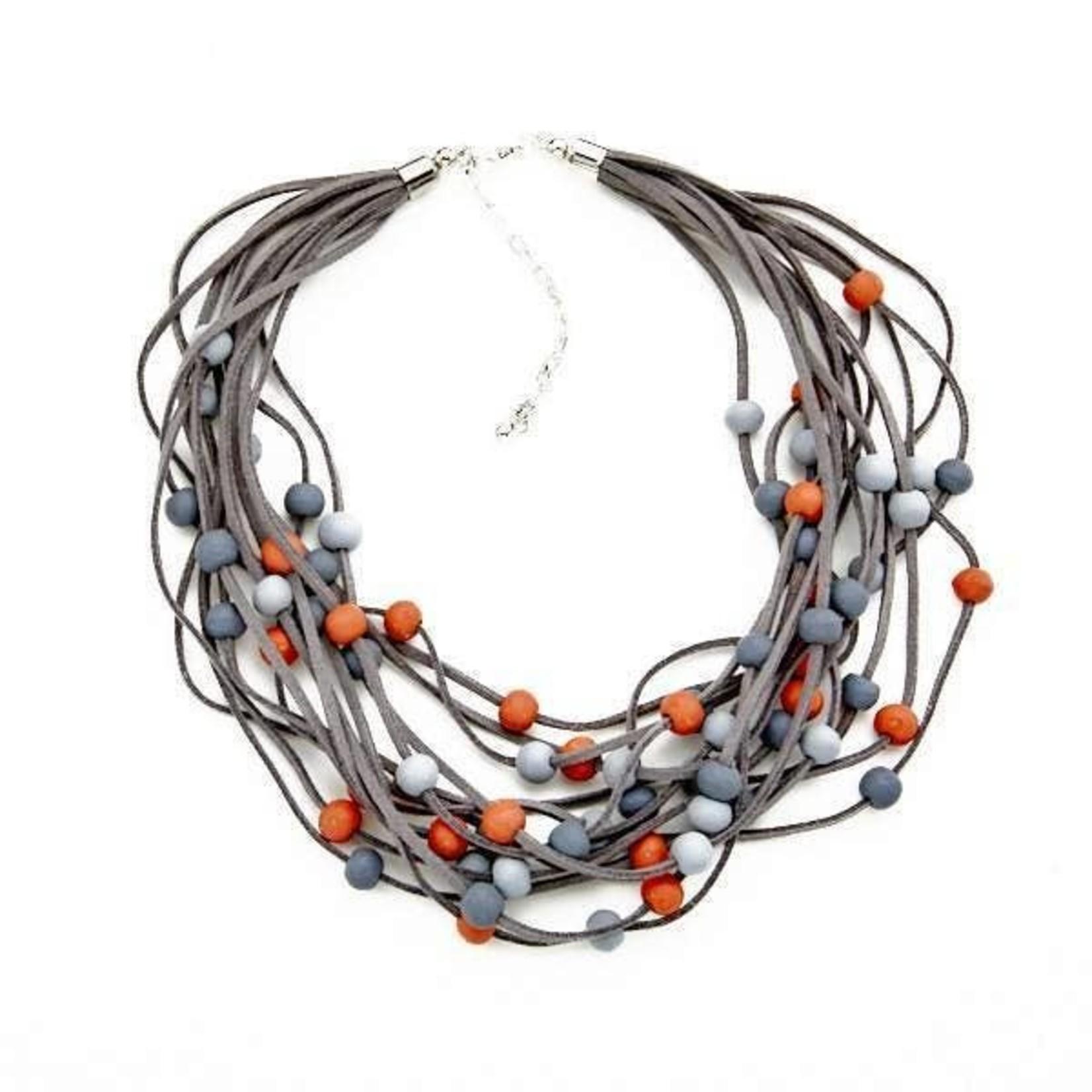 Suzie Blue Canada Orange & Grey Multi-Str Short Suede Nckl w/Wooden Balls