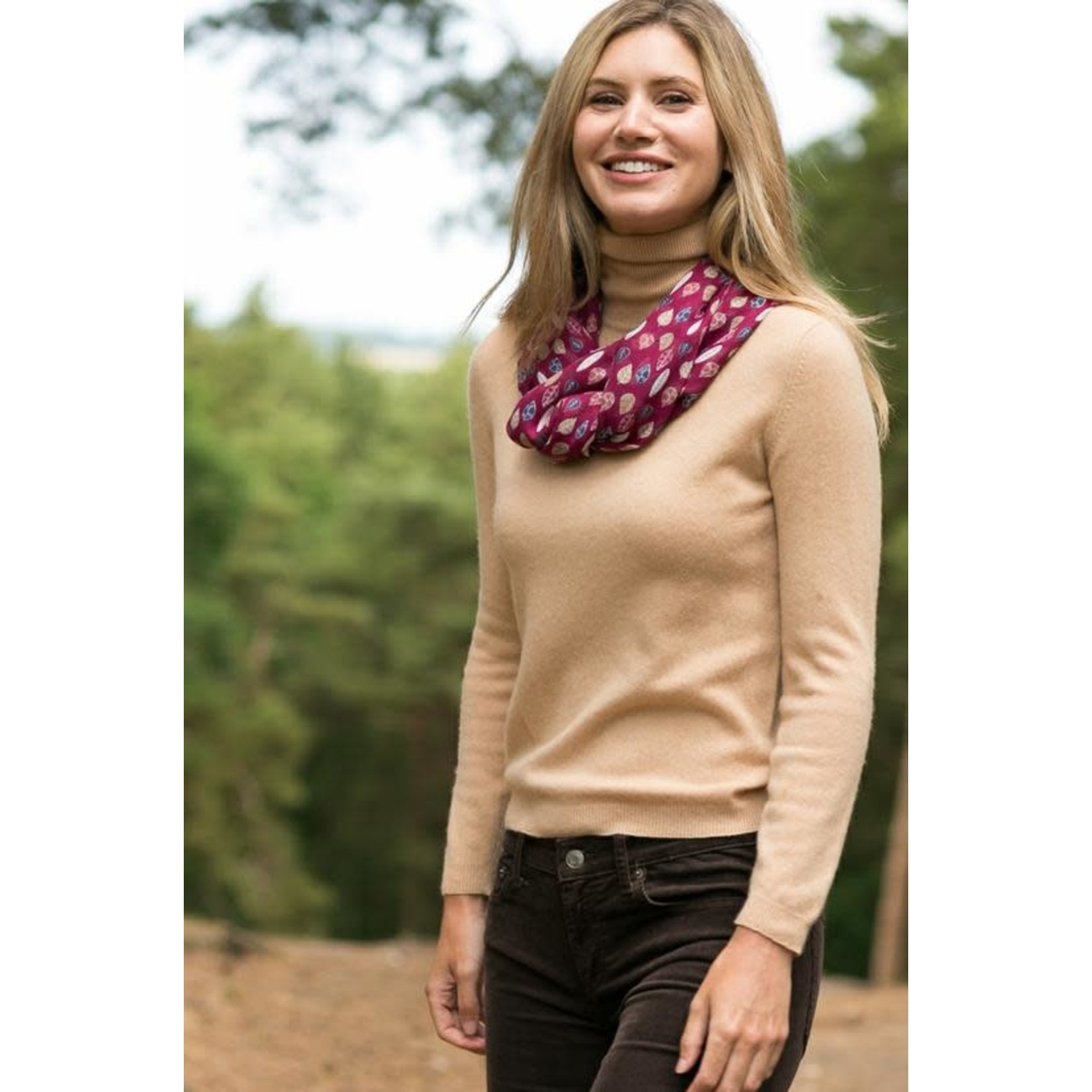 Peony Accessories Leaf Print Scarf in Wine