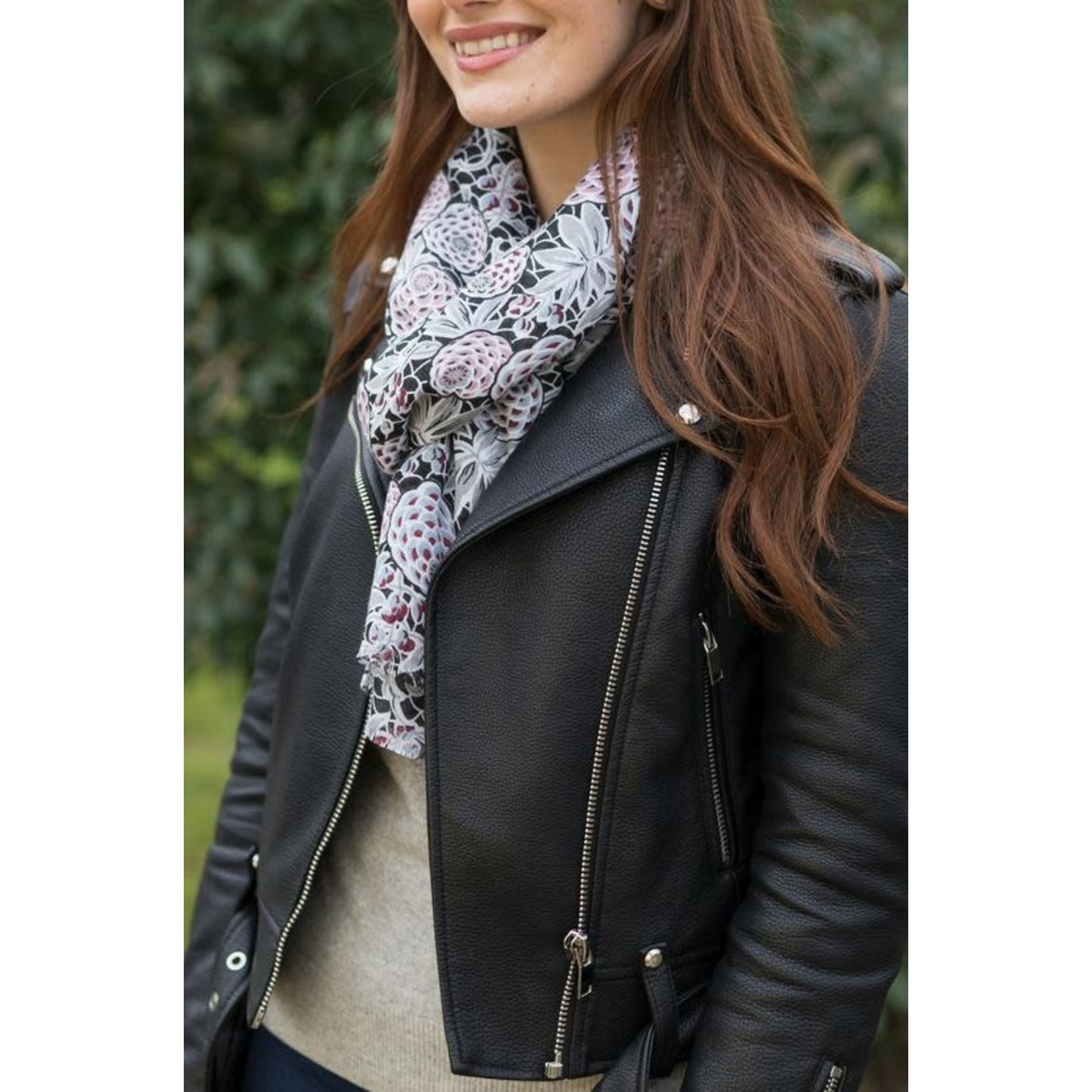 Peony Accessories Pinecones Scarf in Charcoal
