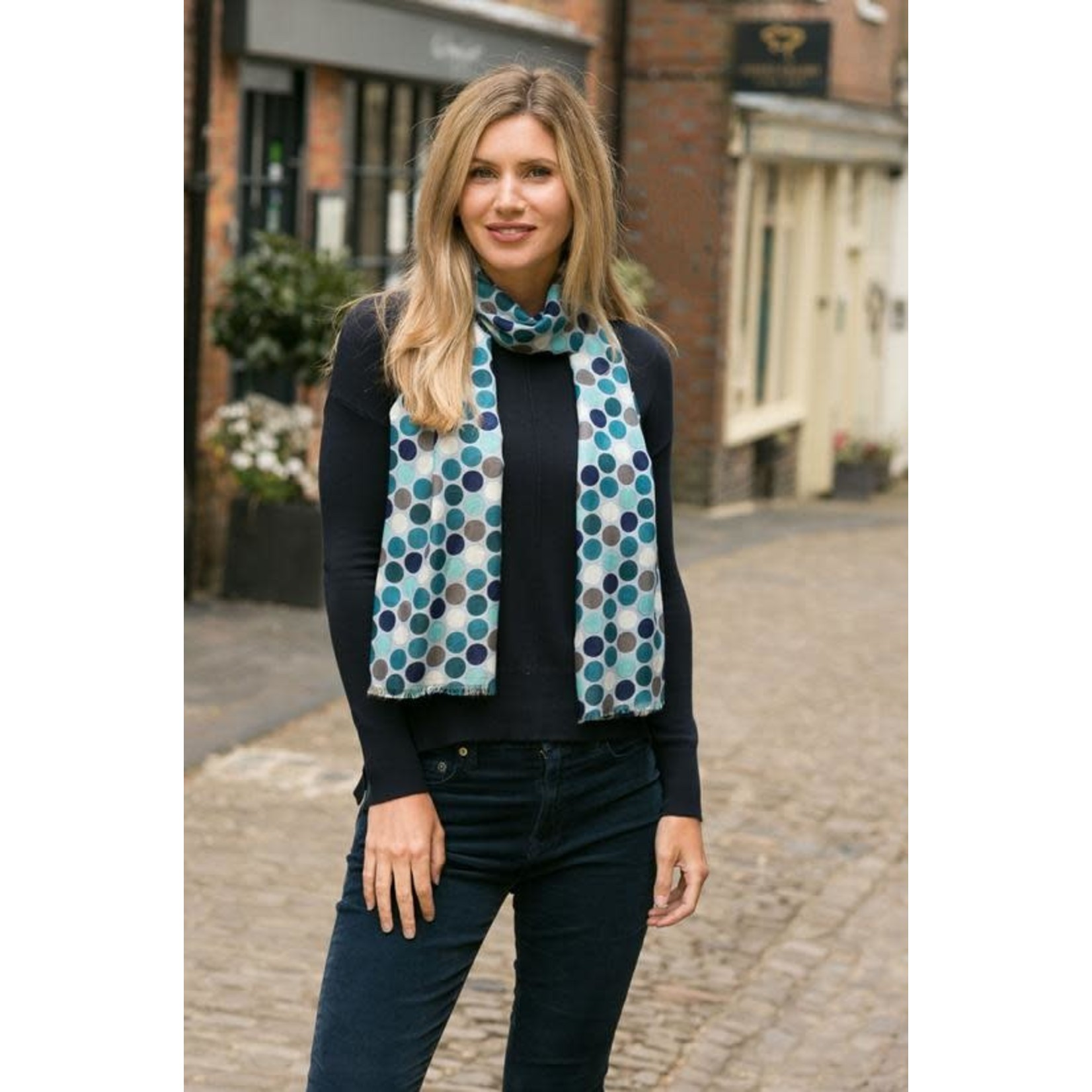 Peony Accessories Jenny Spot Scarf in Blue