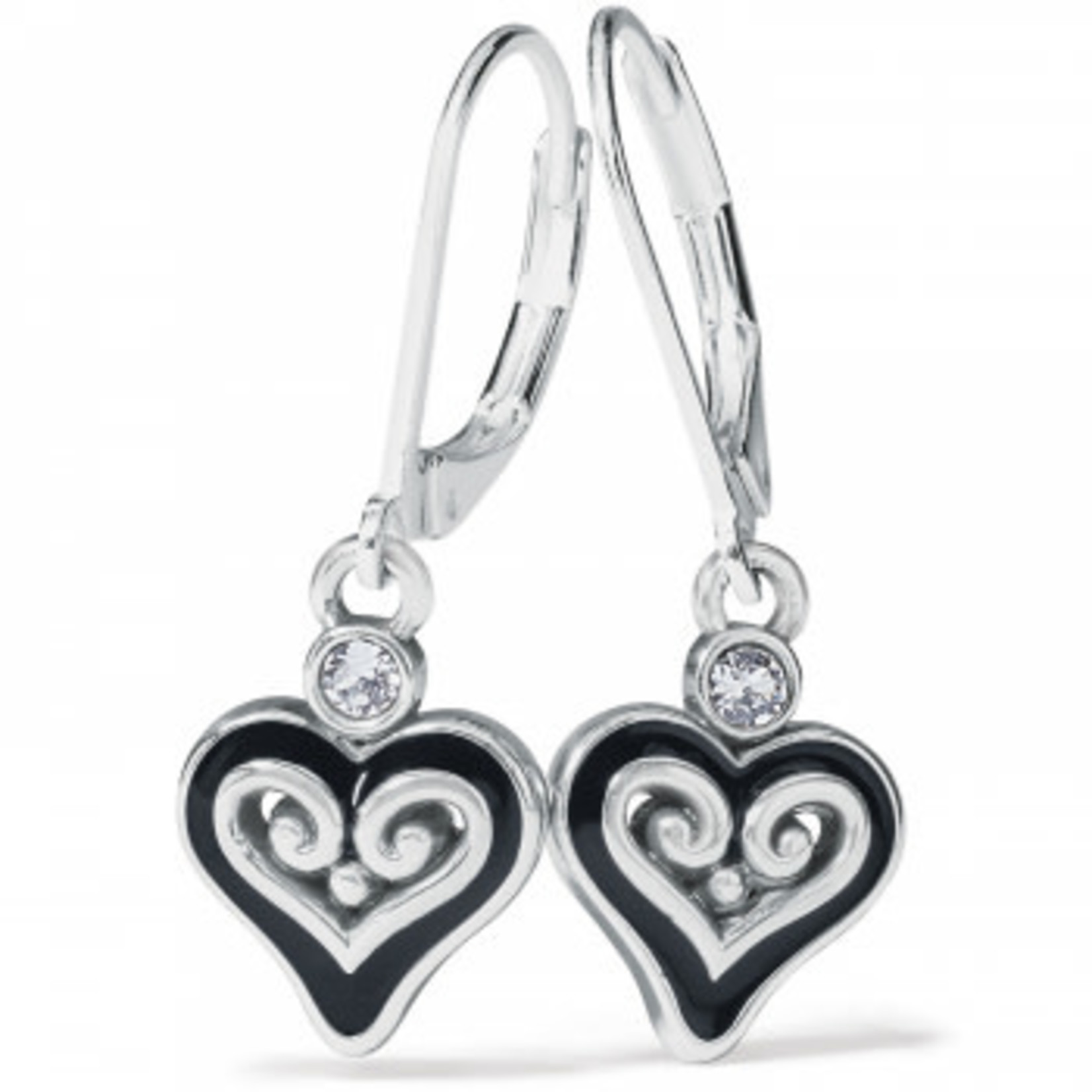 Brighton Alcazar Mystique Heart Leverback Earrings - Silver