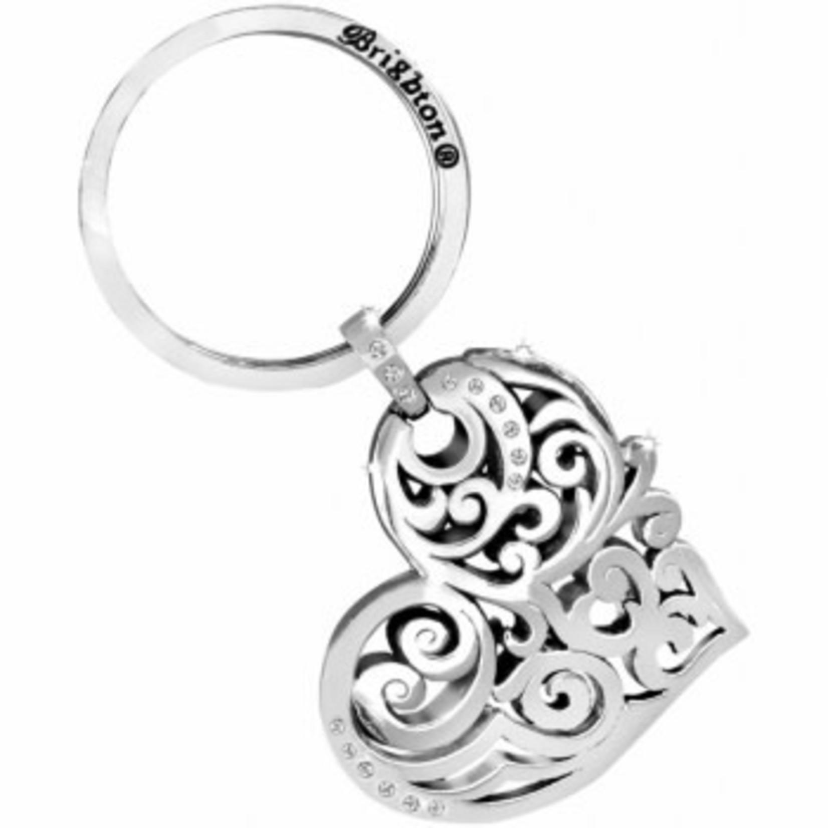 Brighton Madrid Heart Key Fob Silver