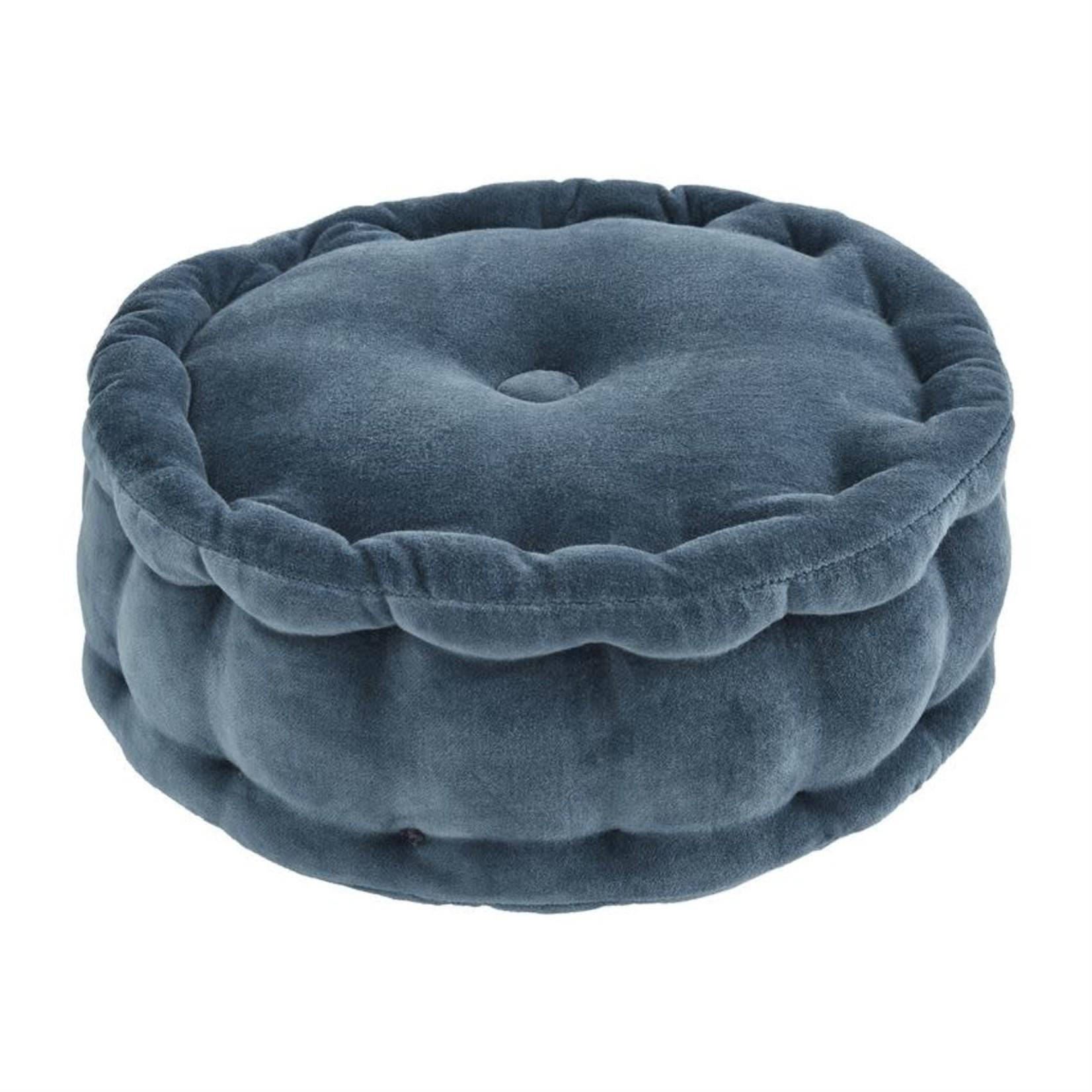 Blue Round Velvet Pillow