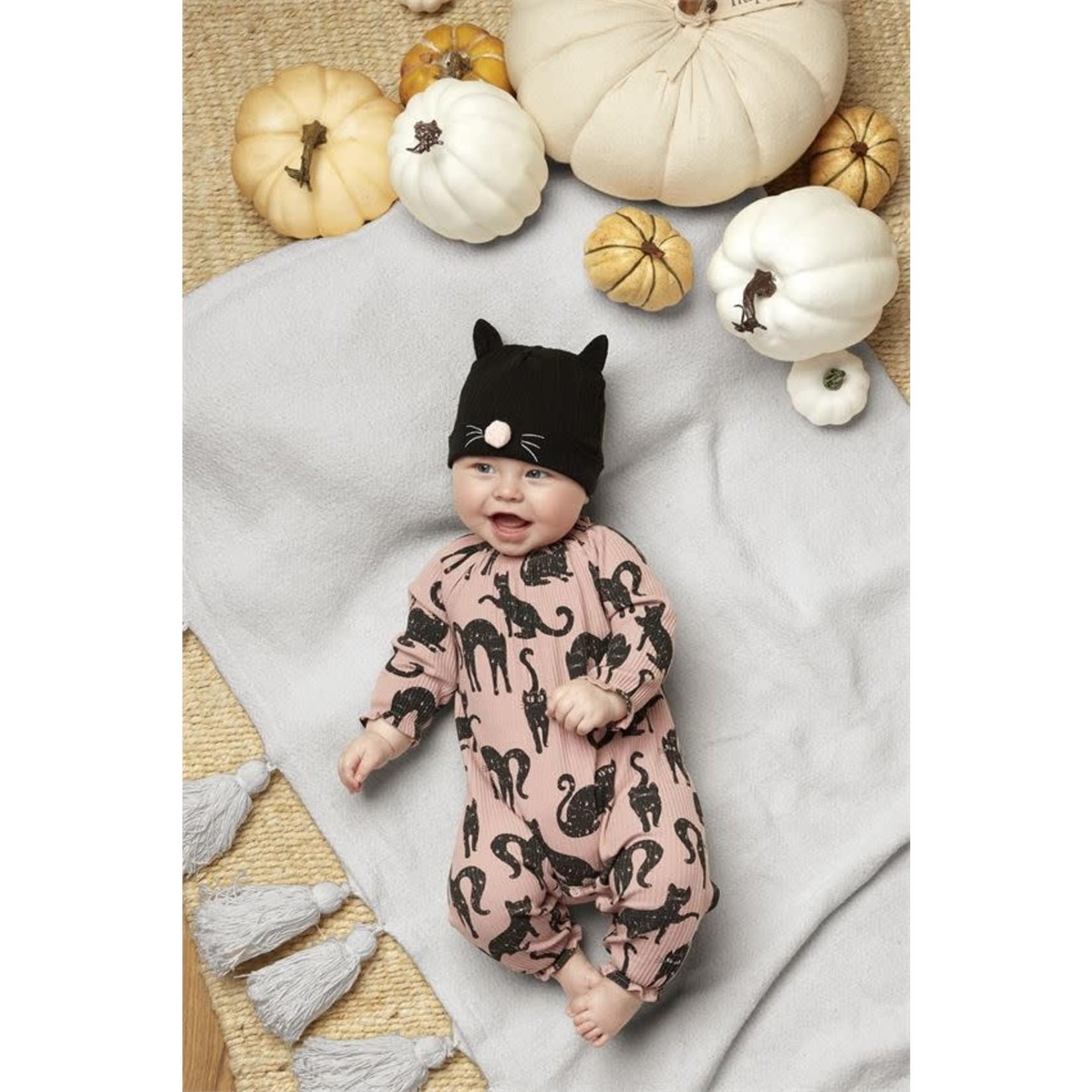 Cat Onesie w/ Black Kitty Beanie Hat 3-6 mo