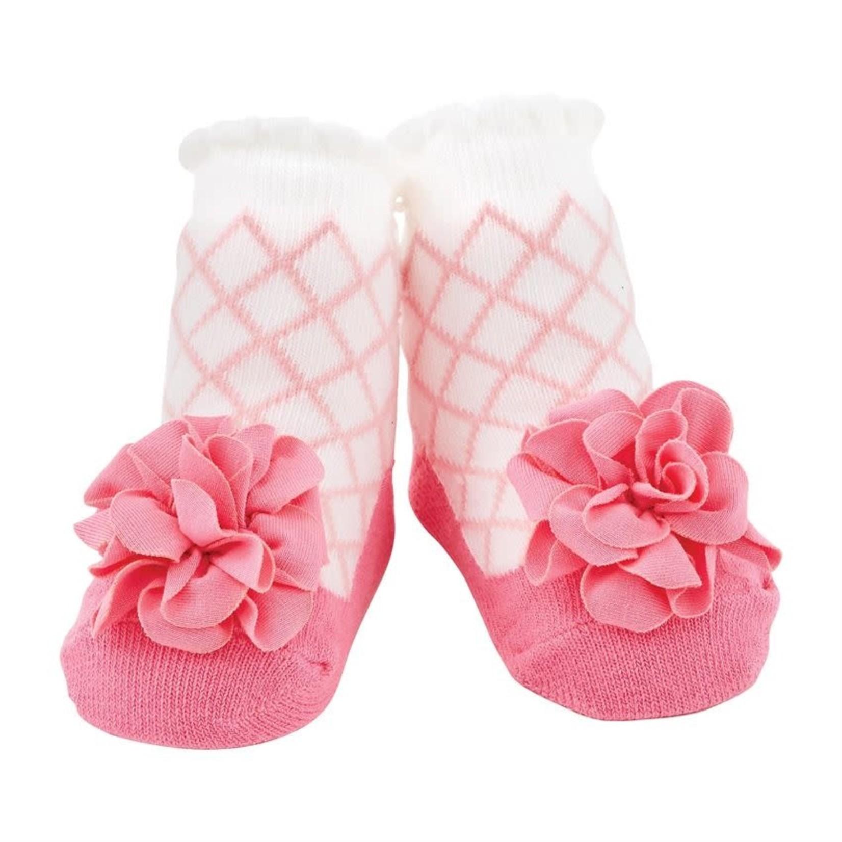 Pink Lattice Flower Socks