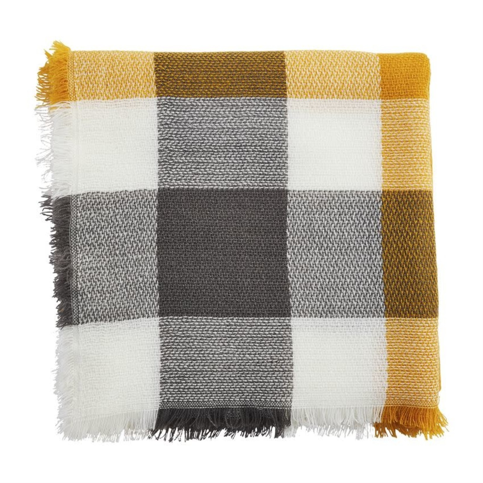 Square Plaid Scarf in Mustard