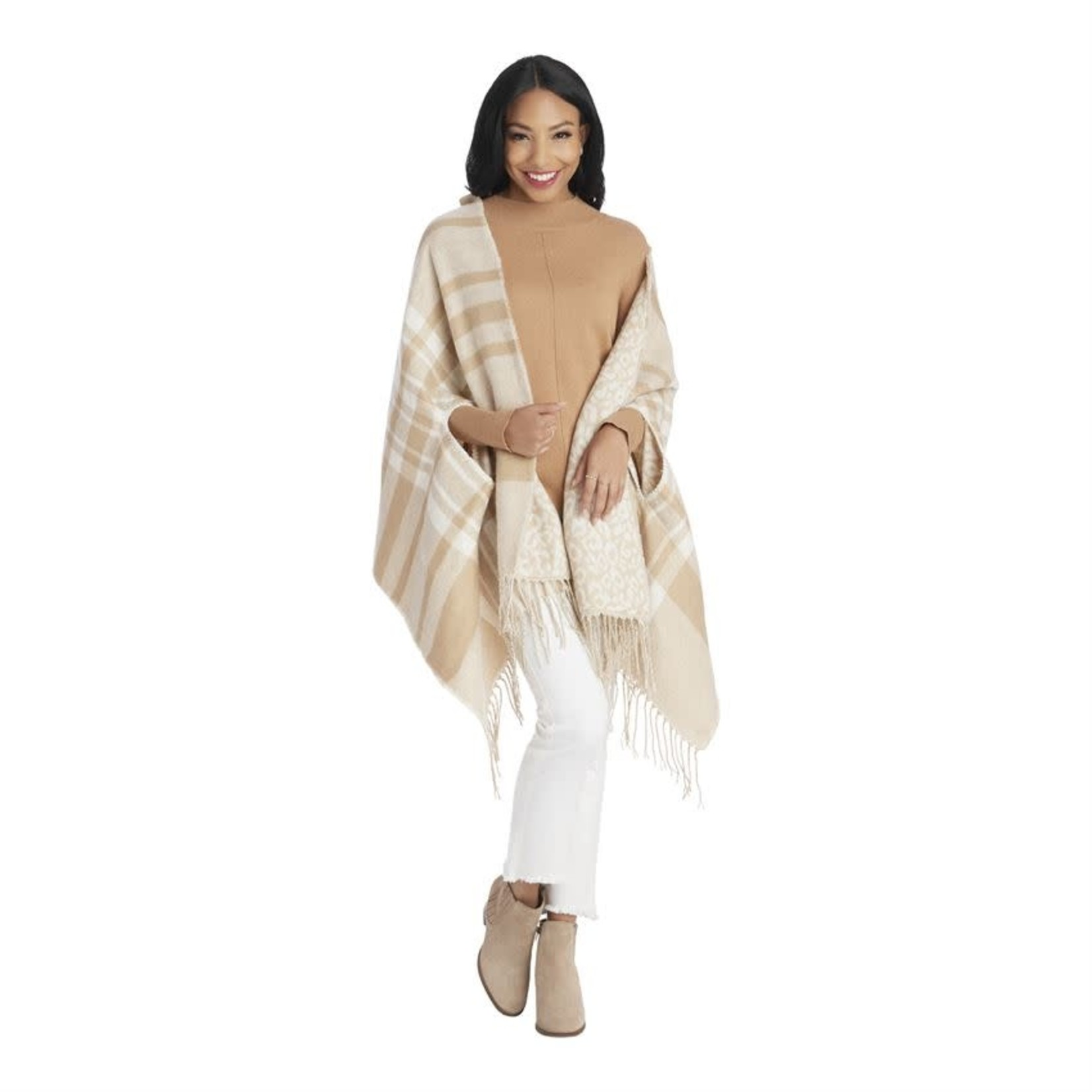 Reversible Scarf Wrap in Creme and Tan Check