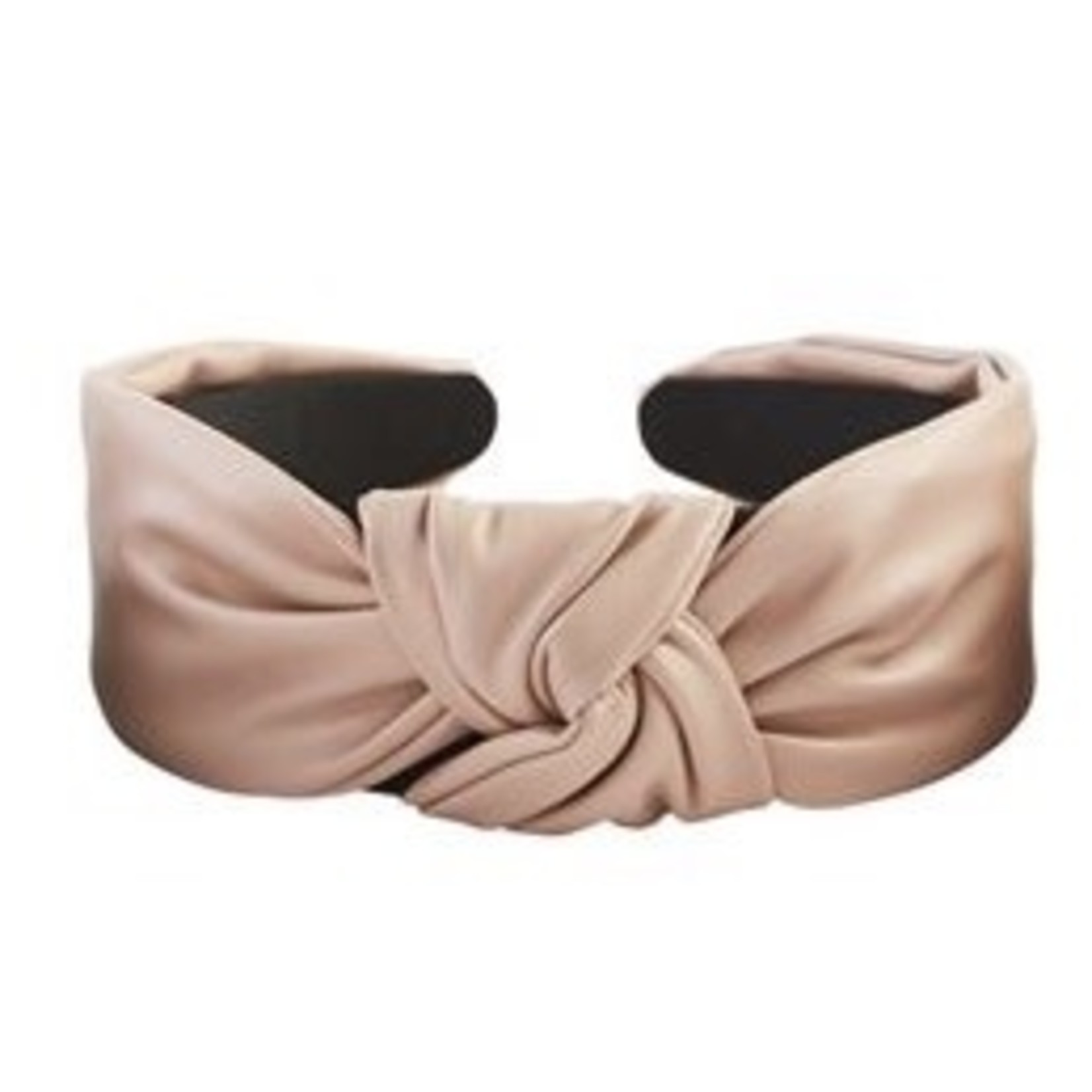 Leather Knotted Headband in Blush