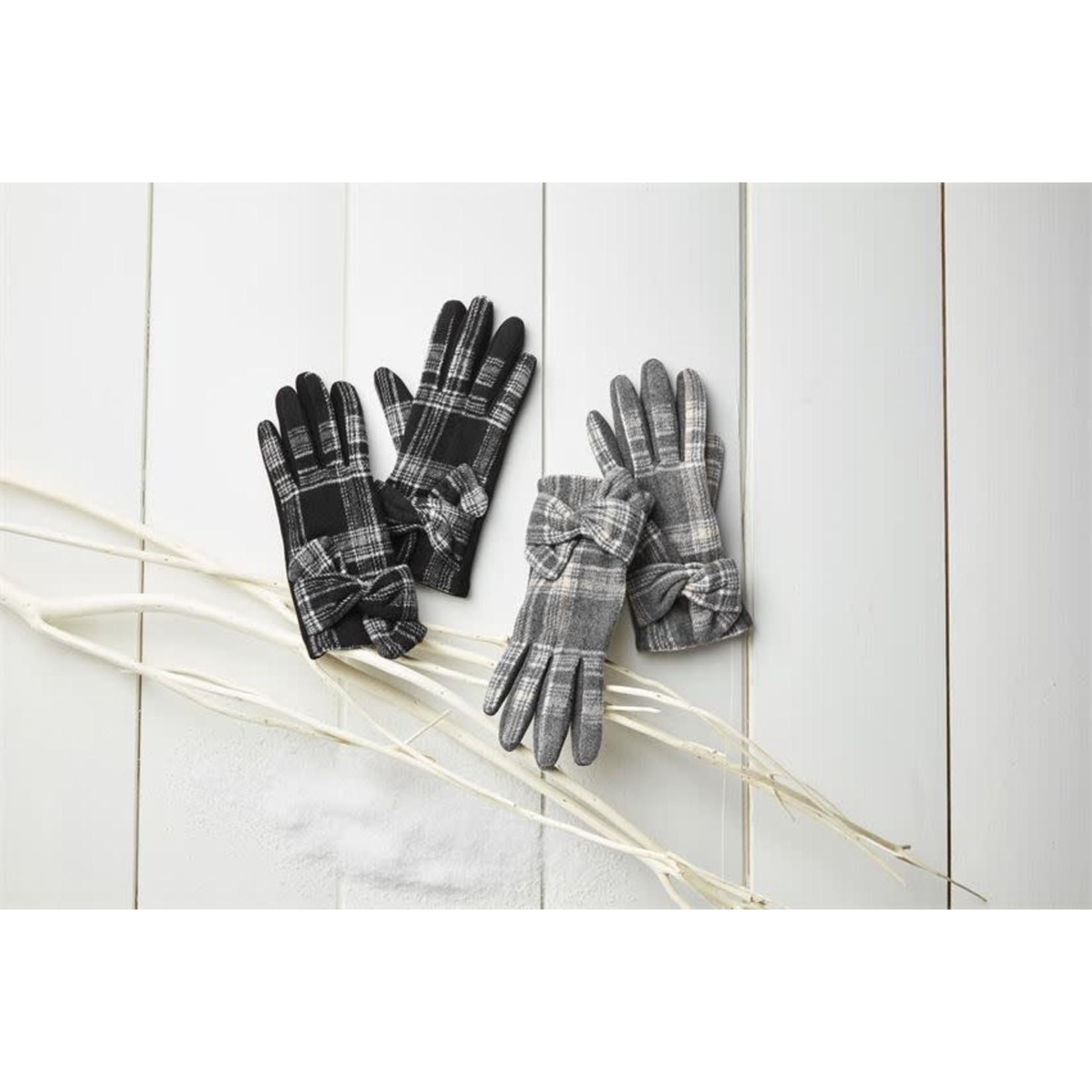 Plaid Knot Glove in Black