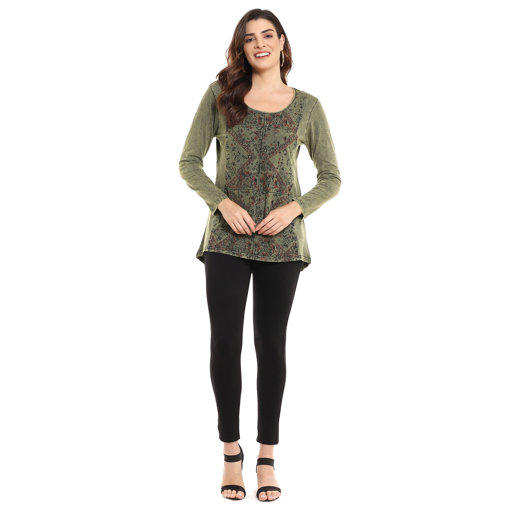 Parsley and Sage Rhea Embroidered Top in Olive