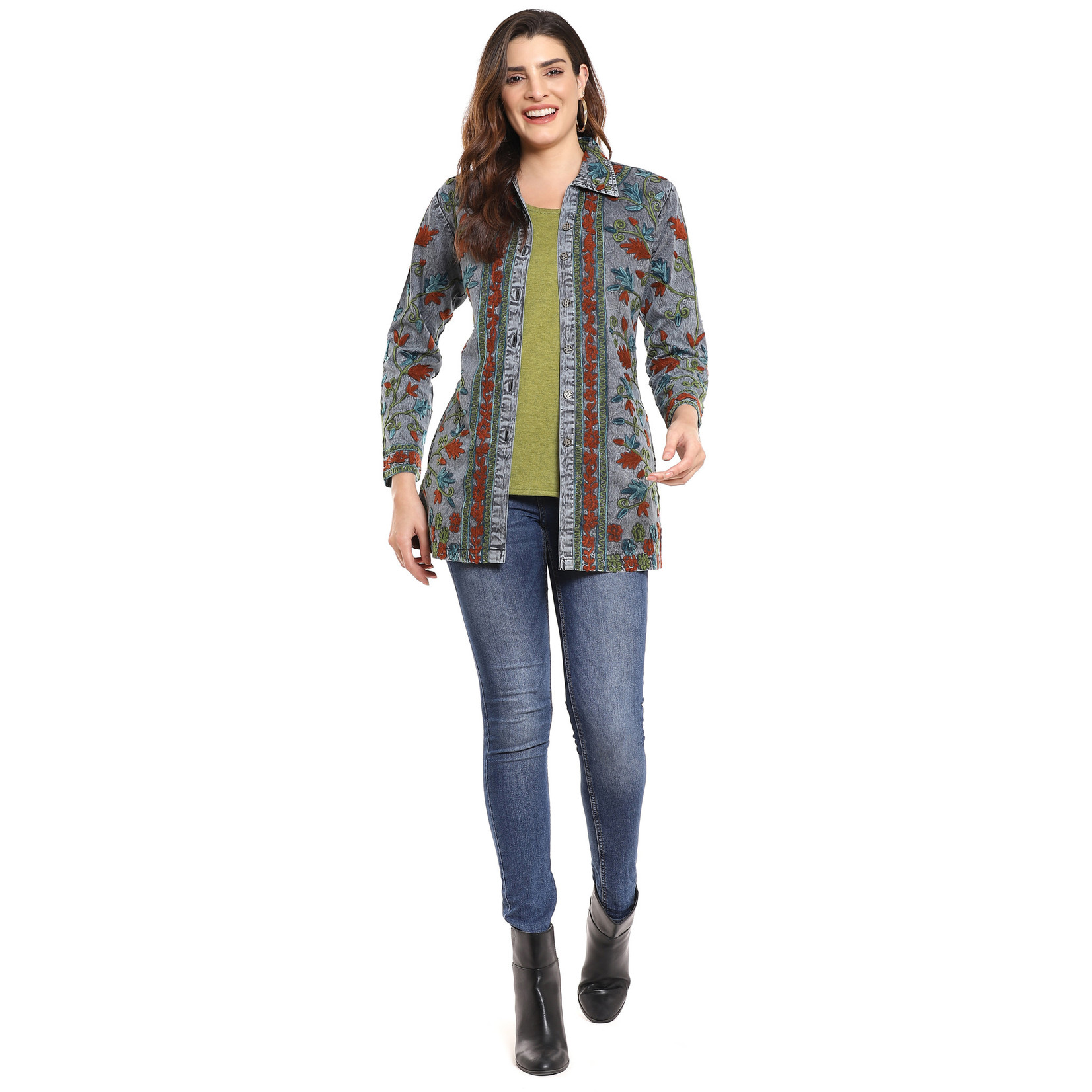 Parsley and Sage Helena Embroidered Long Shirt