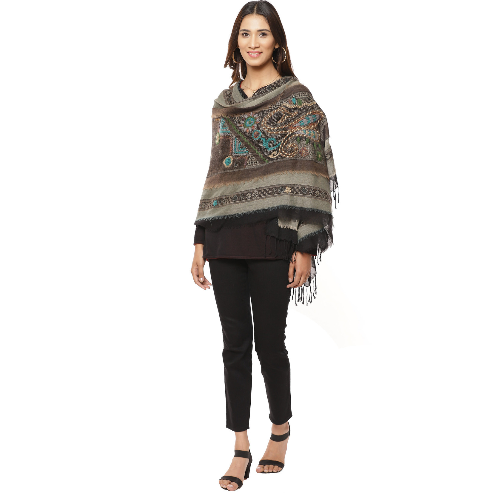 Parsley and Sage Bianca Brown Embroidered Wool Wrap