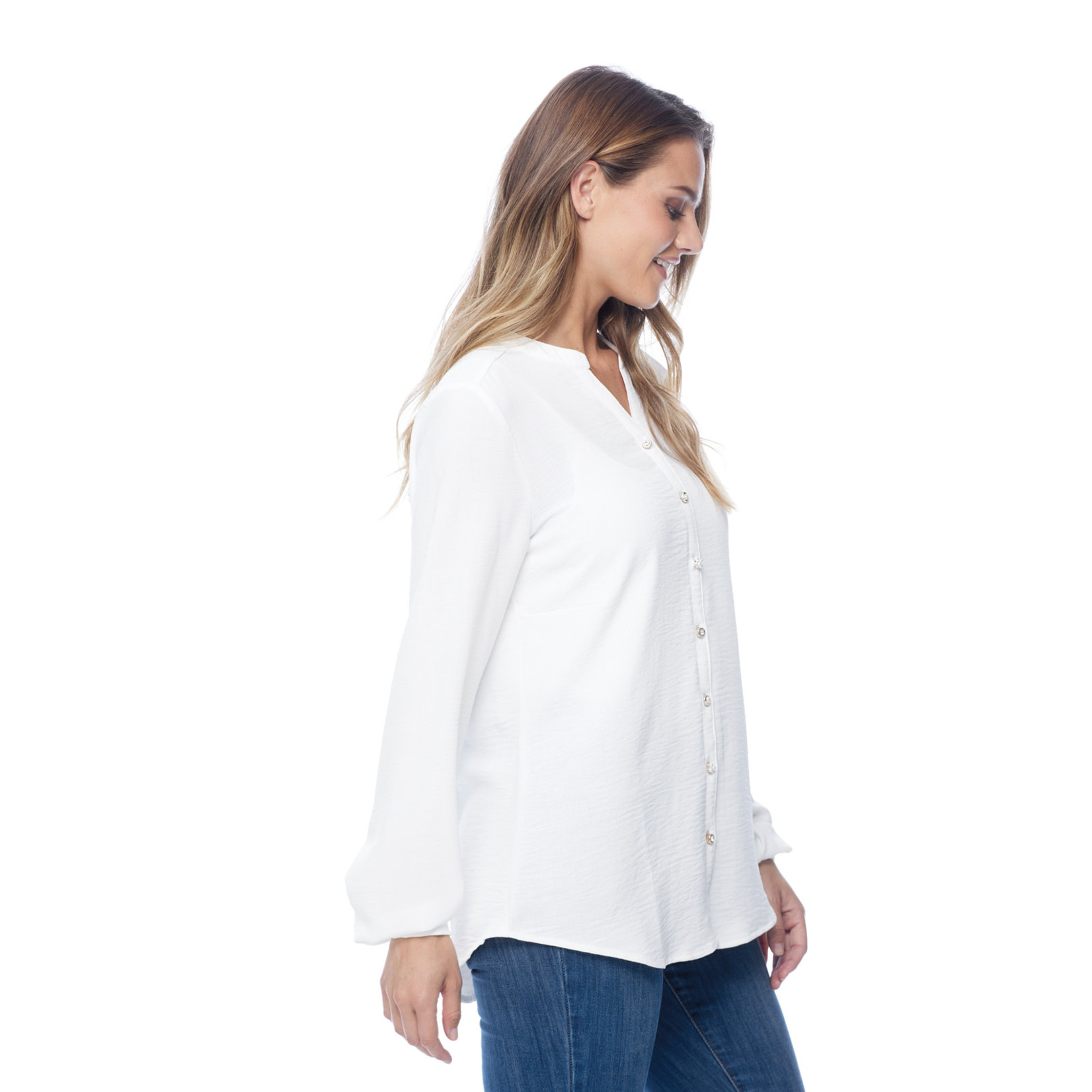 FDJ Gold and Pearl Button Up Blouse in Cream