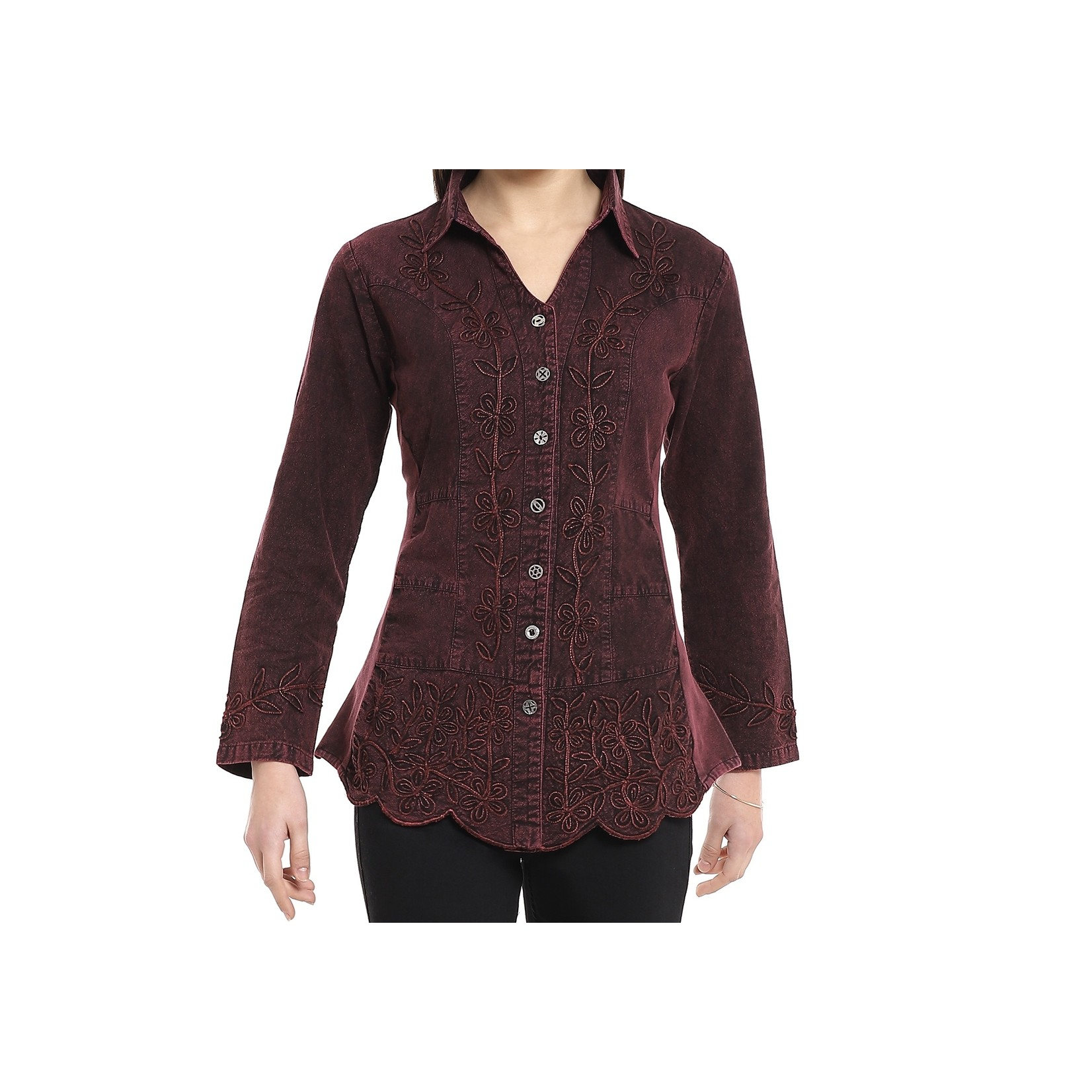 Parsley and Sage Pamela Shirt in Wine