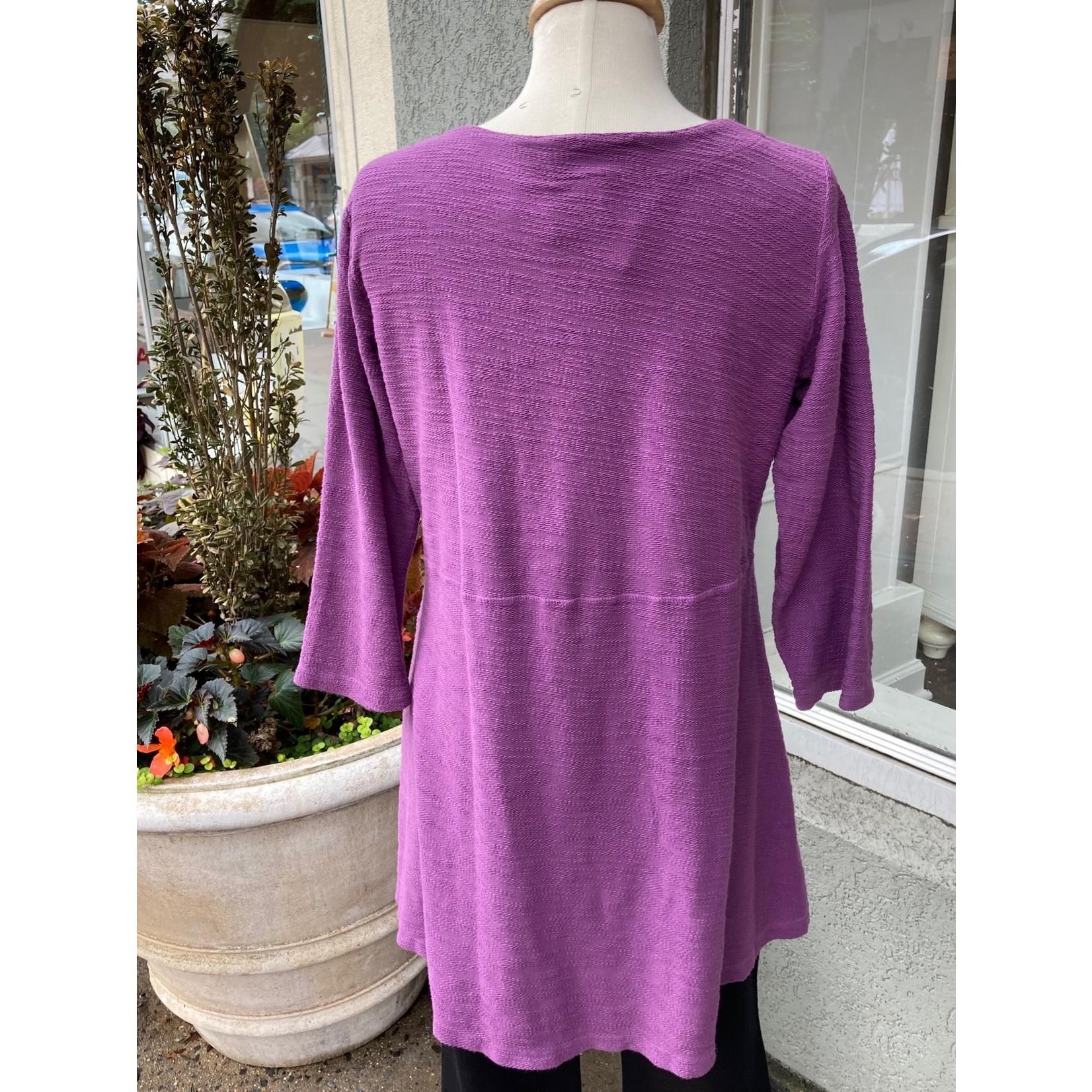 Color Me Cotton Multi-seamed Cover Stitch Swing Tunic in Eggplant