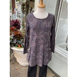 Color Me Cotton Seamed Print Tunic w/ Scoop Pockets in Chocolate