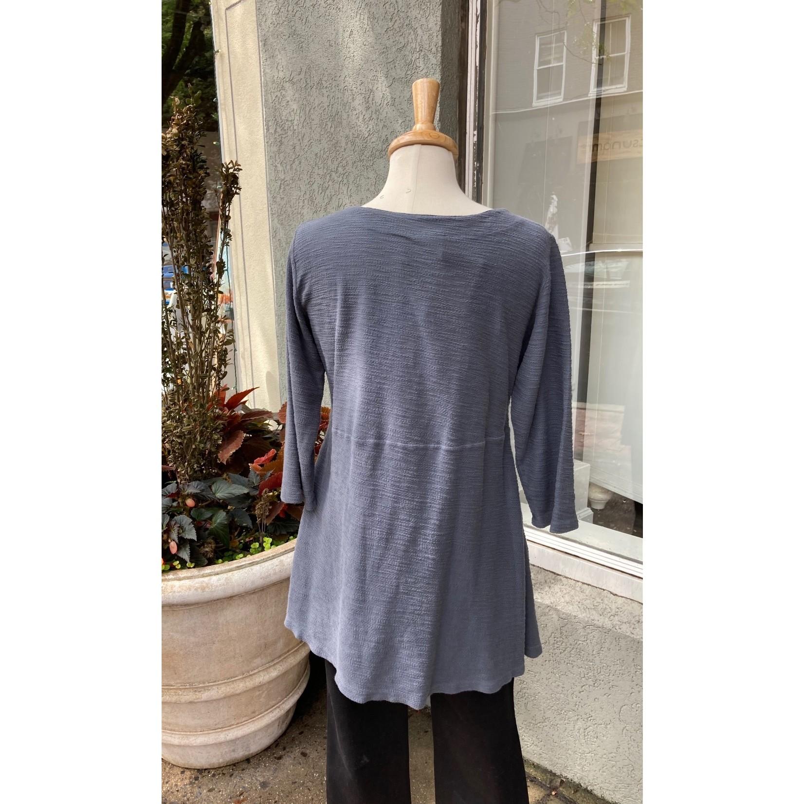 Color Me Cotton Multi-seamed Cover Stitch Swing Tunic in Asphalt