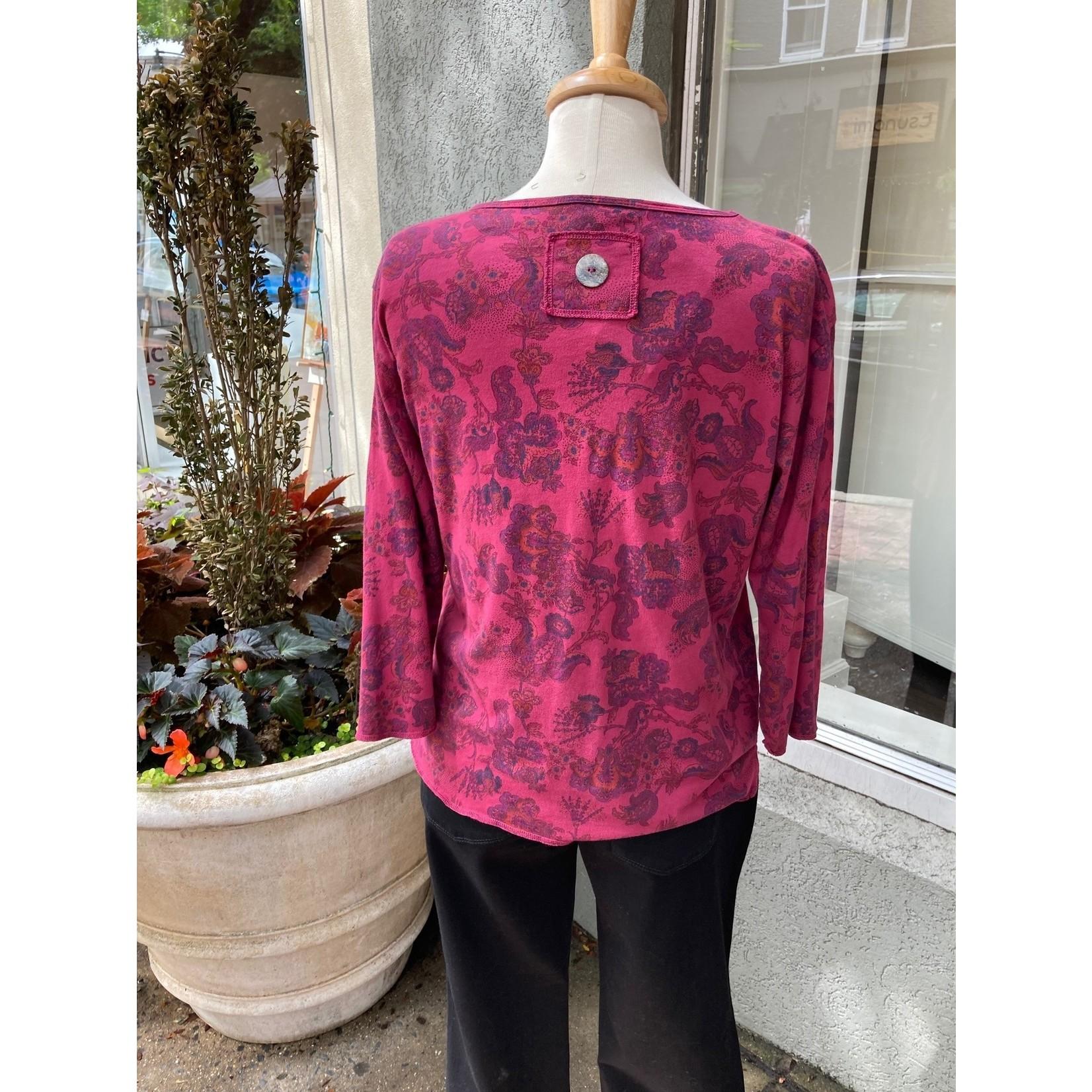 Color Me Cotton Round Neck Print Top w/ Pocket in Vintage Shiraz