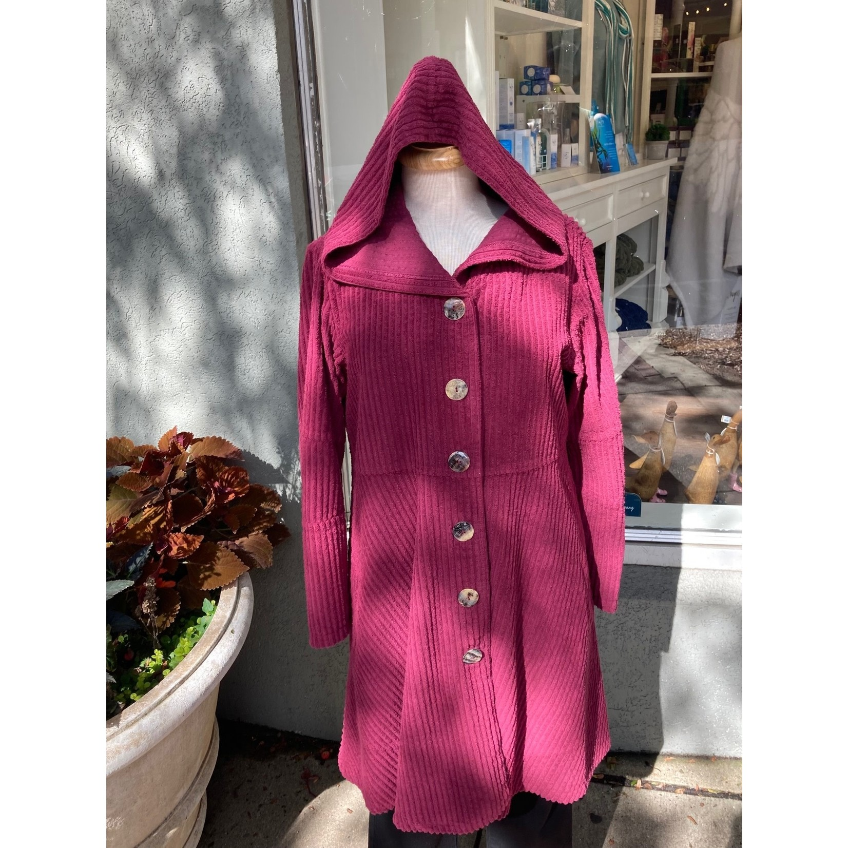 Color Me Cotton Hooded Wide Whale Corduroy Swing Coat in Vintage Shiraz
