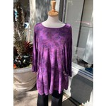 Color Me Cotton Seamed Print Tunic w/ Scoop Pockets in Eggplant