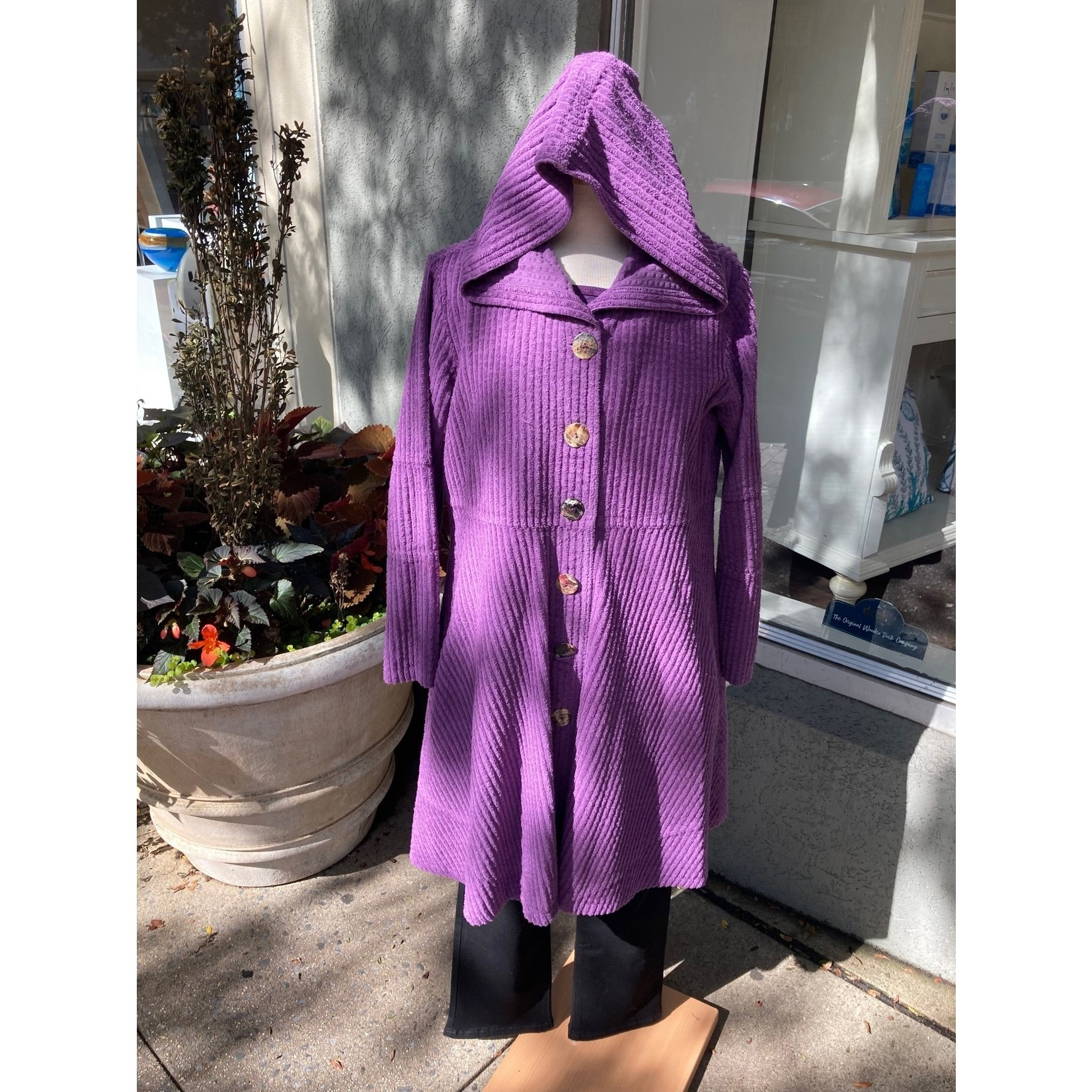 Color Me Cotton Hooded Wide Whale Corduroy Swing Coat in Eggplant