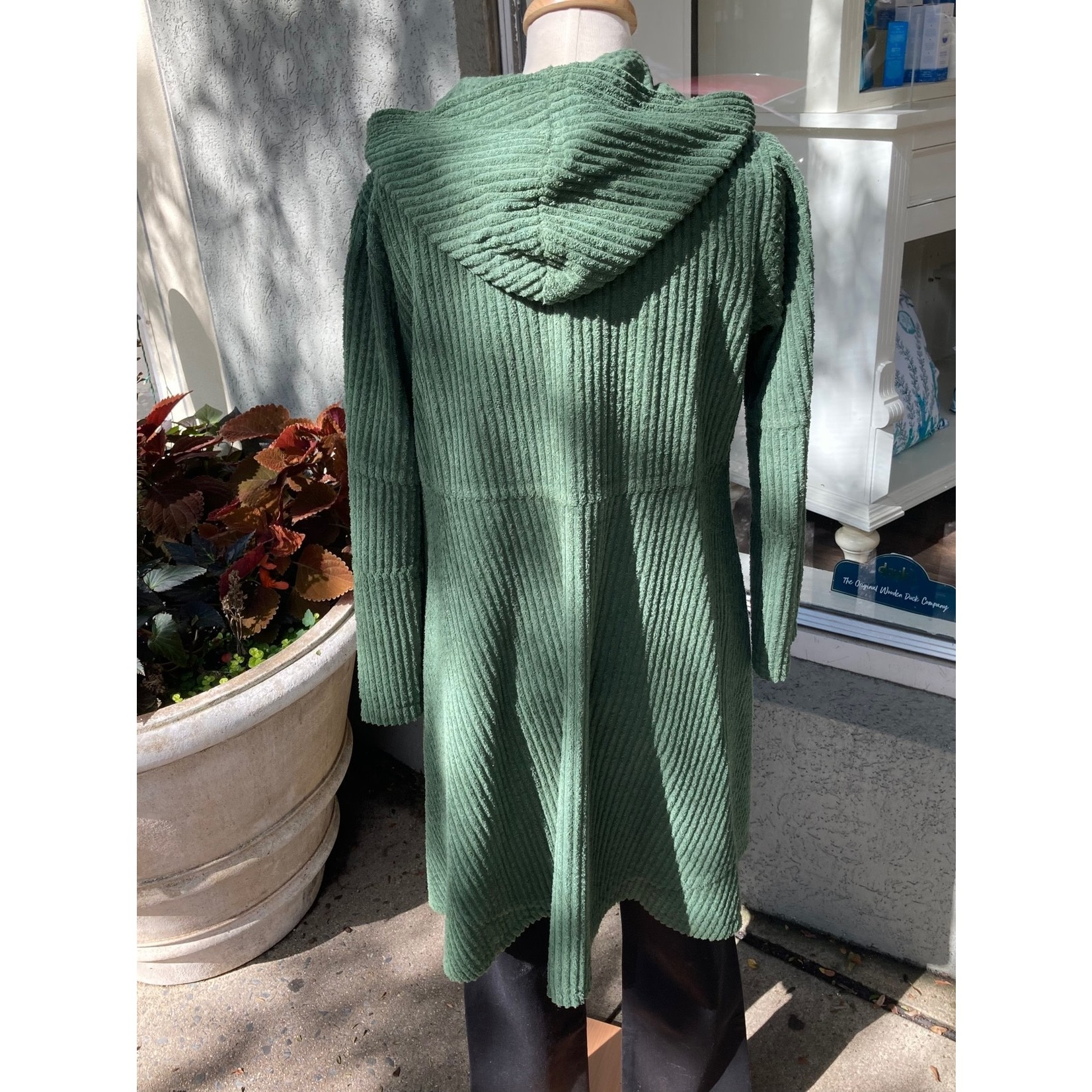 Color Me Cotton Hooded Wide Whale Corduroy Swing Coat in Evergreen