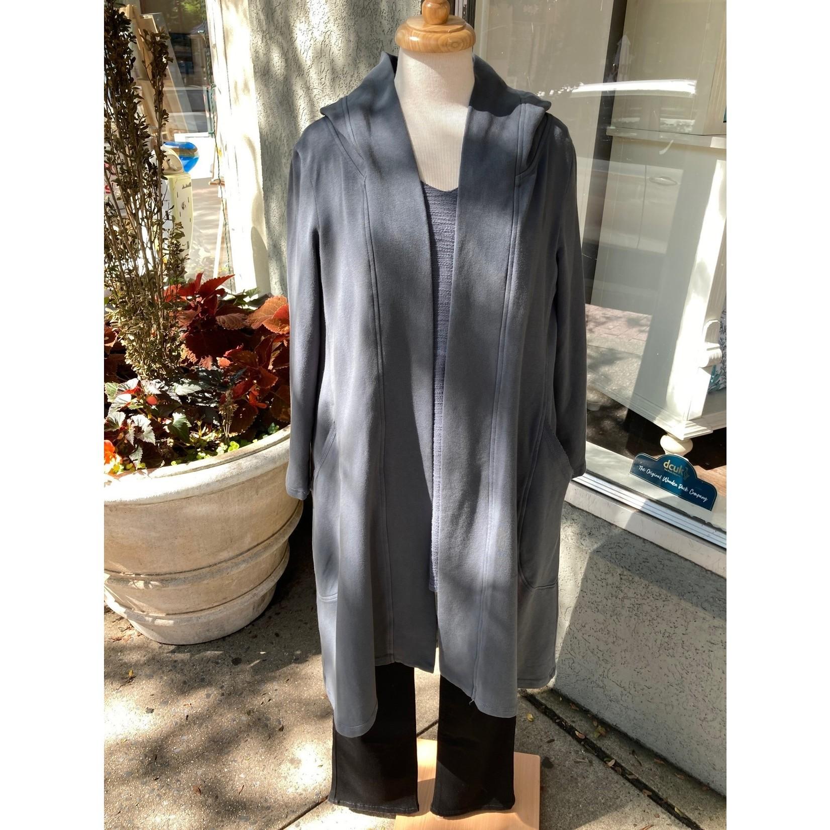 Color Me Cotton Long Hooded Jacket w/ Pockets in Asphalt