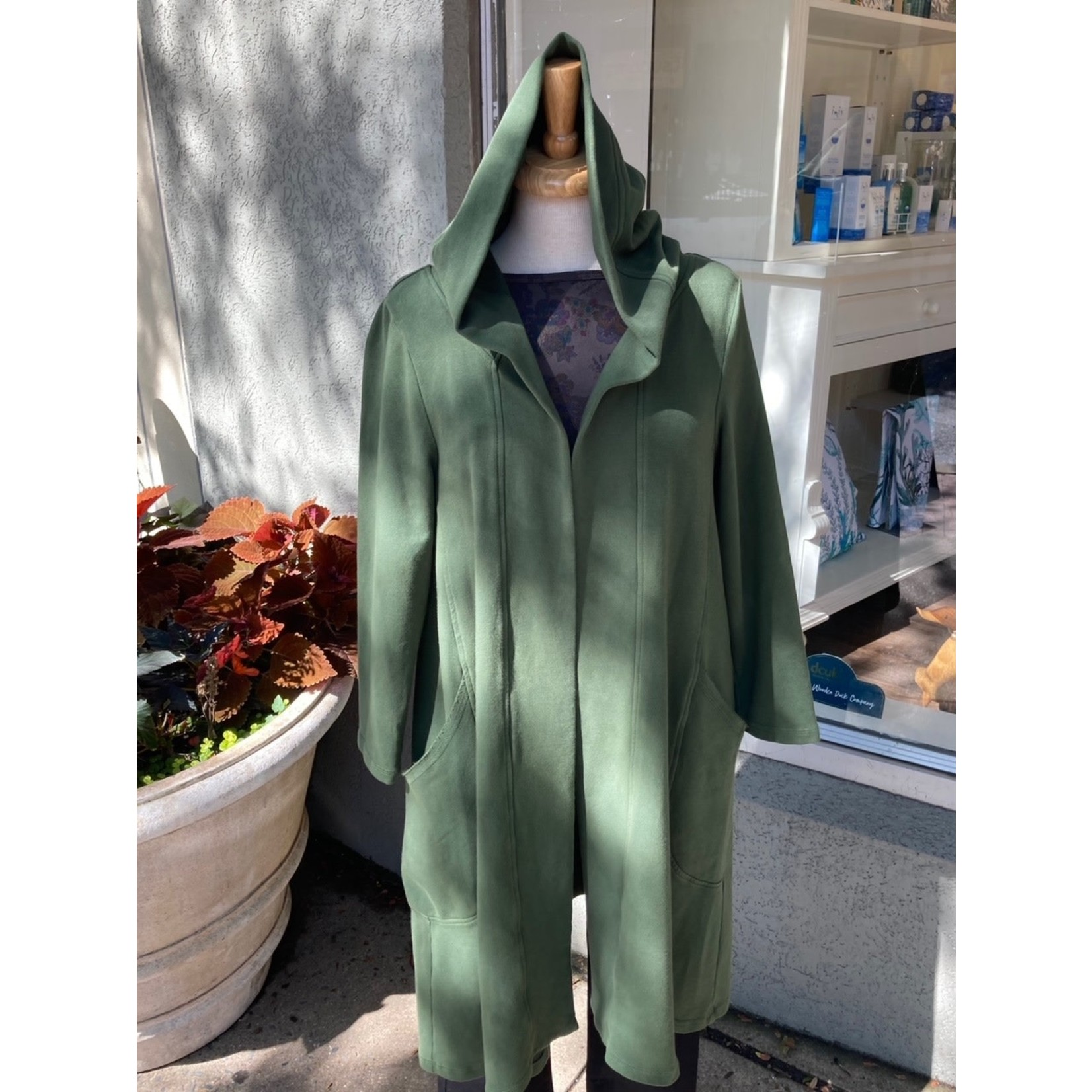 Color Me Cotton Long Hooded Jacket w/ Pockets in Evergreen