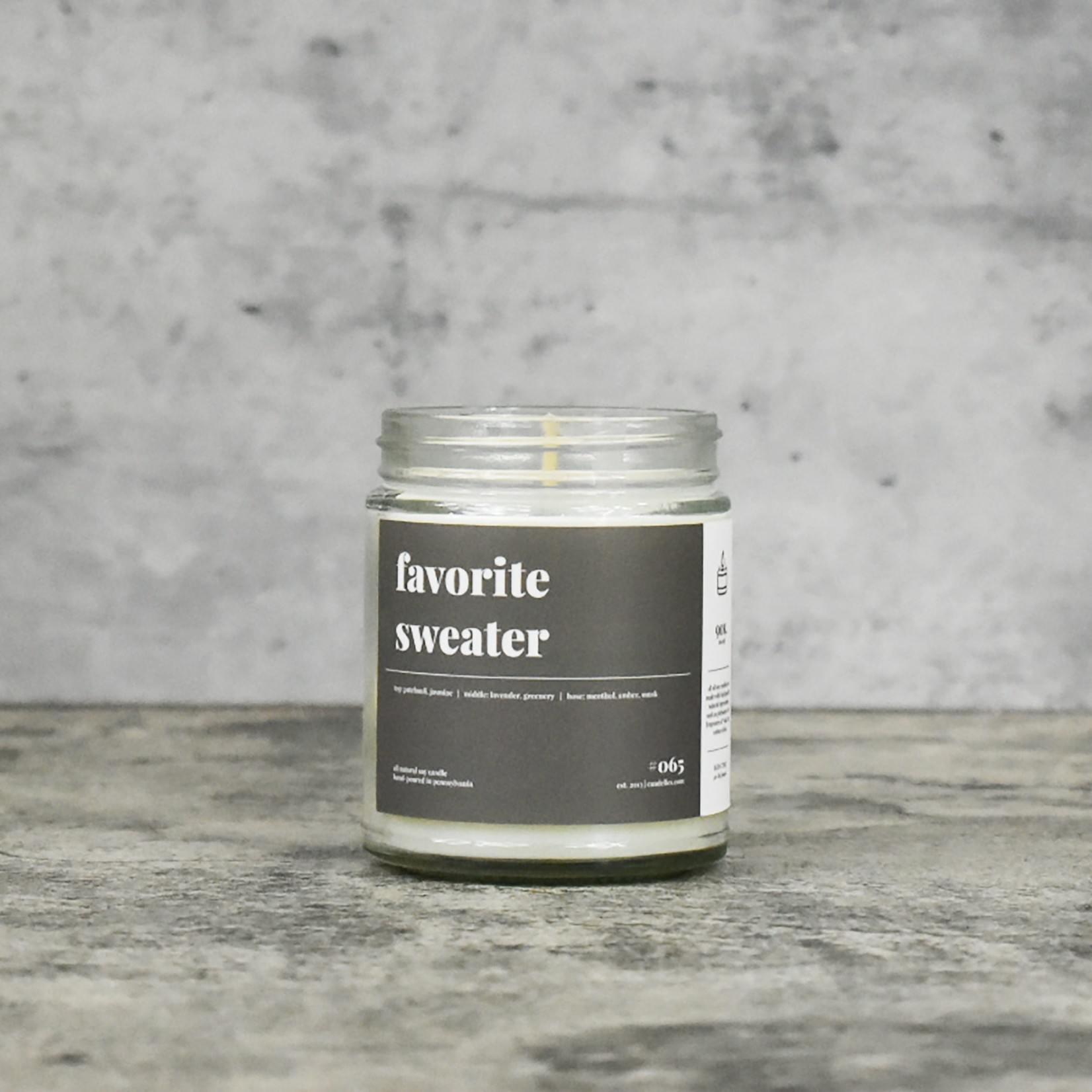 Candelles Soy Candles Favorite Sweater 9 oz Soy Candle