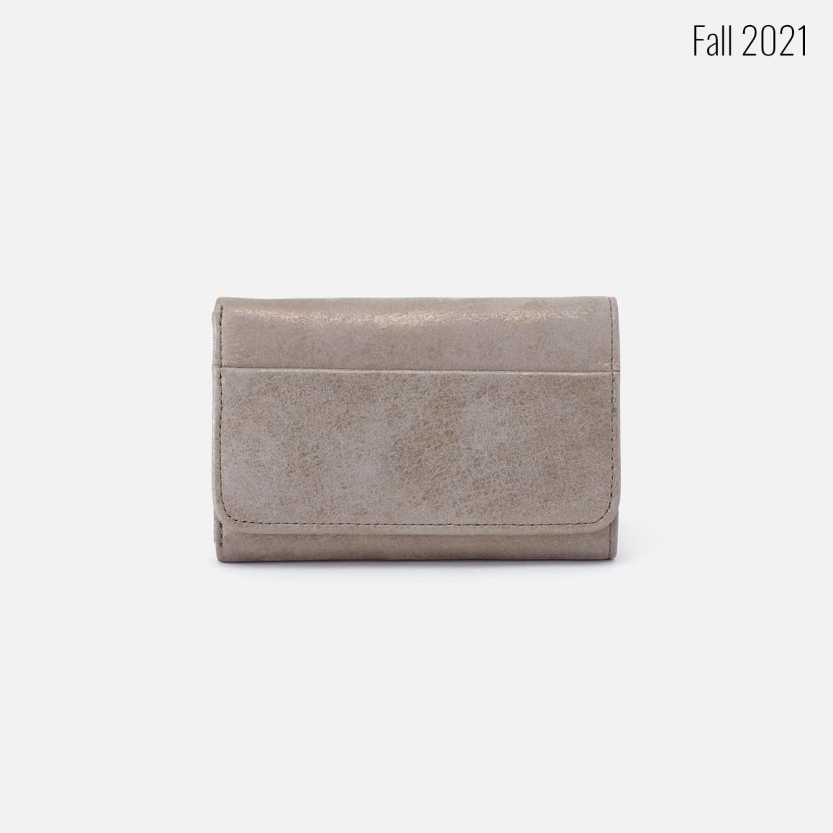 HOBO Jill Granite Gold Leather Trifold Wallet