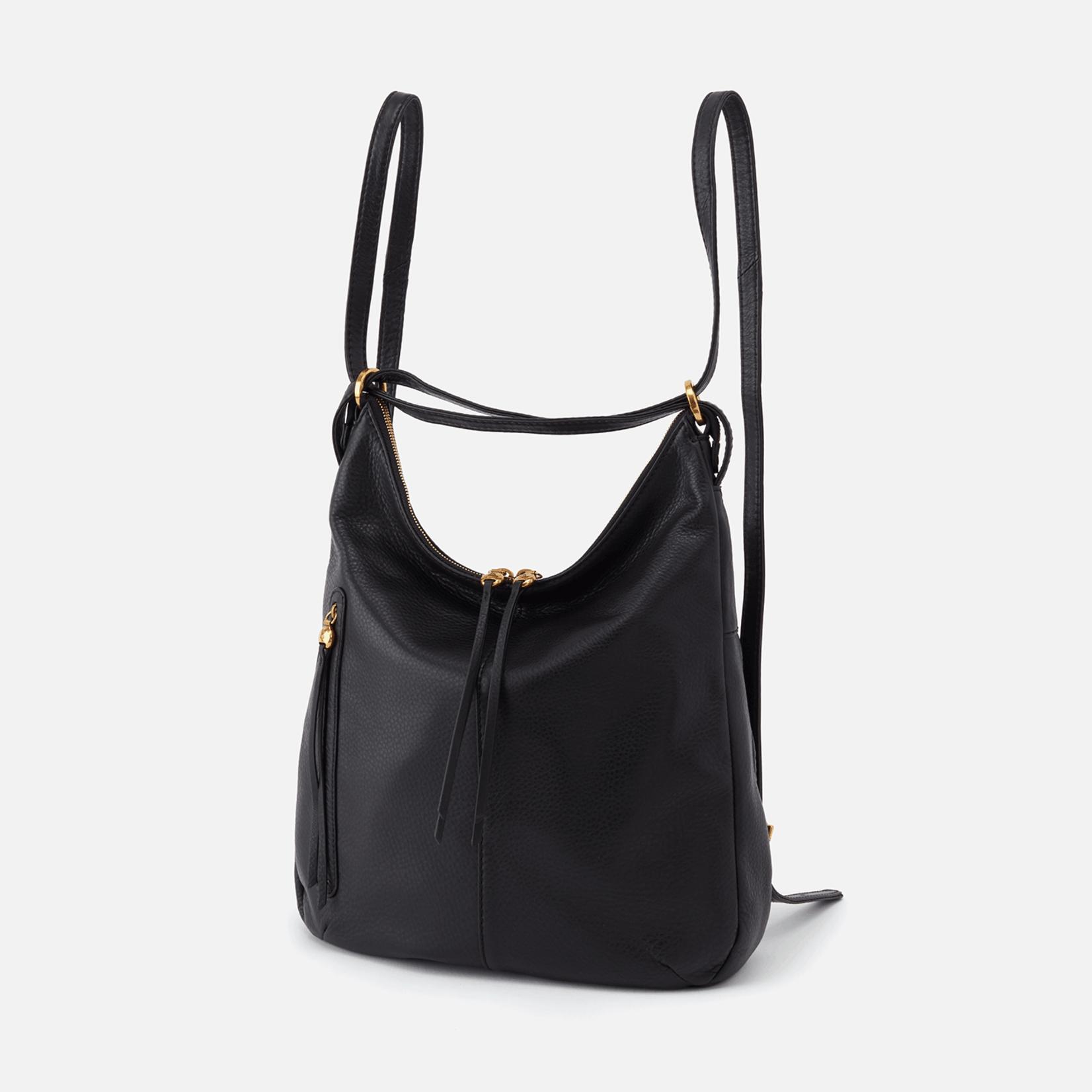HOBO Merrin Black Pebbled Hide Leather Cnvtbl Backpack