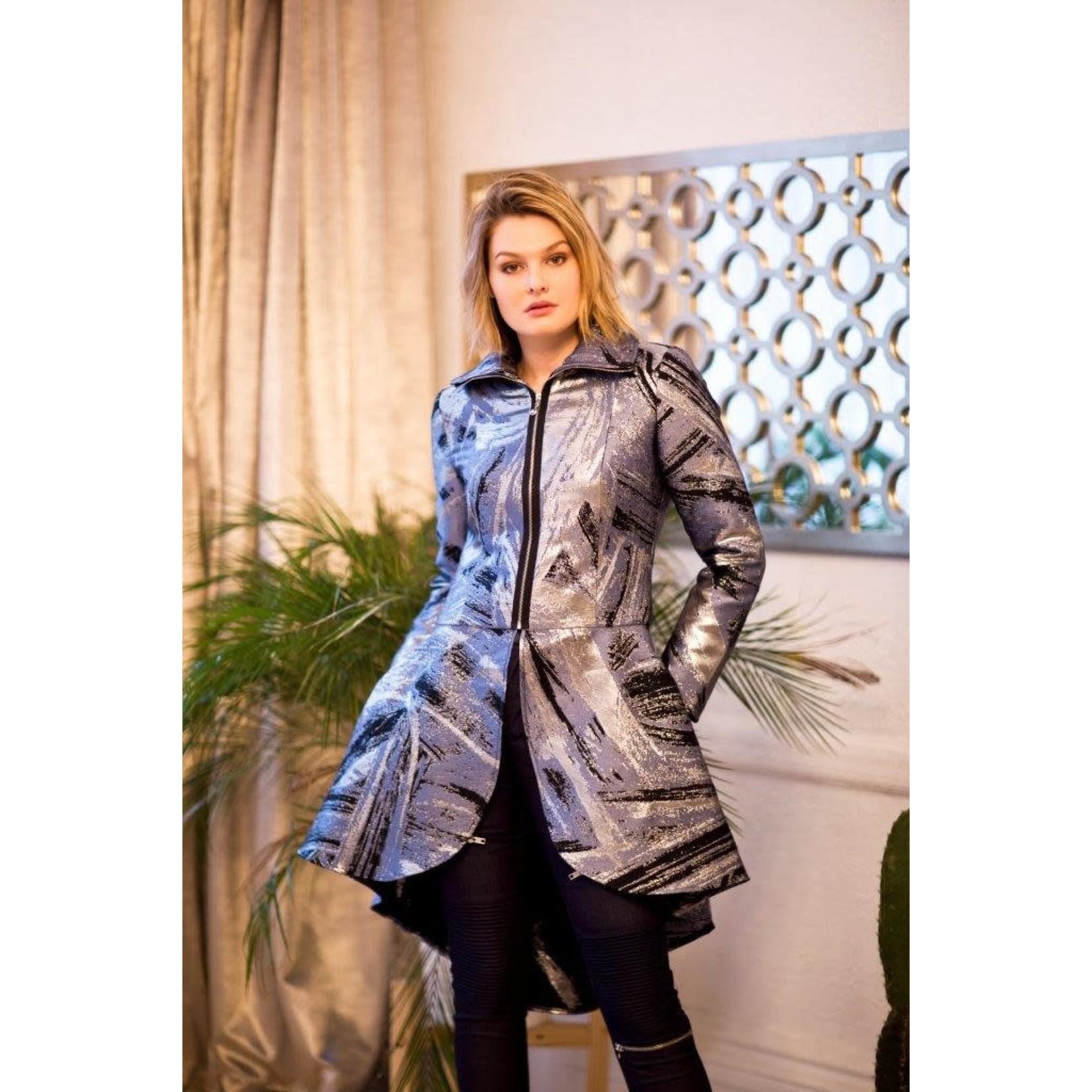 Samuel Dong Blue & Silver Zip & Flare Jacket