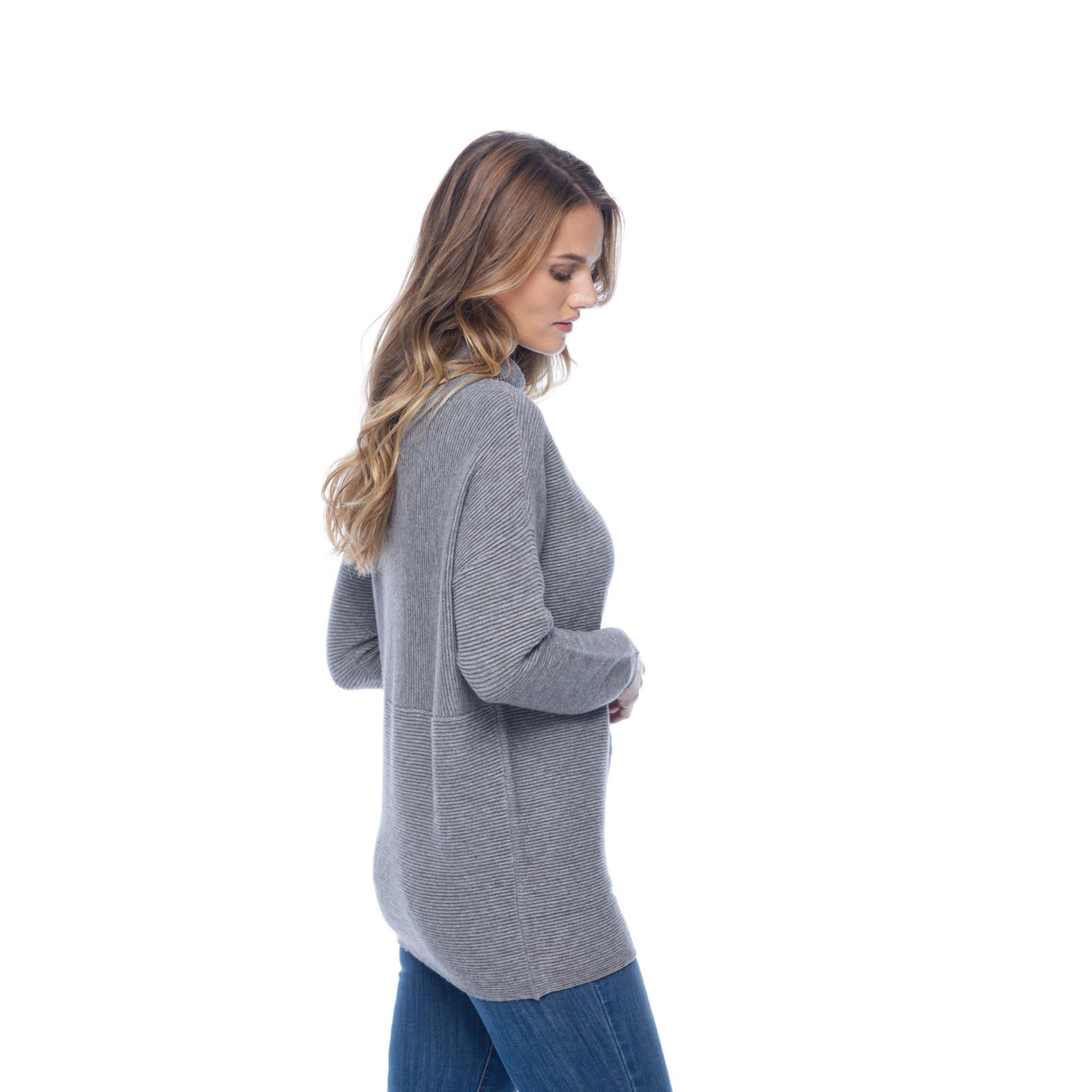 FDJ Heather Sweater Knit Top in Gray/Blue