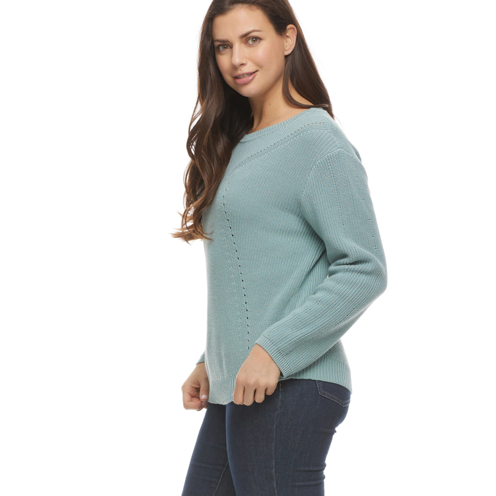 FDJ Shaker Stitch Boat Neck Sweater in Teal