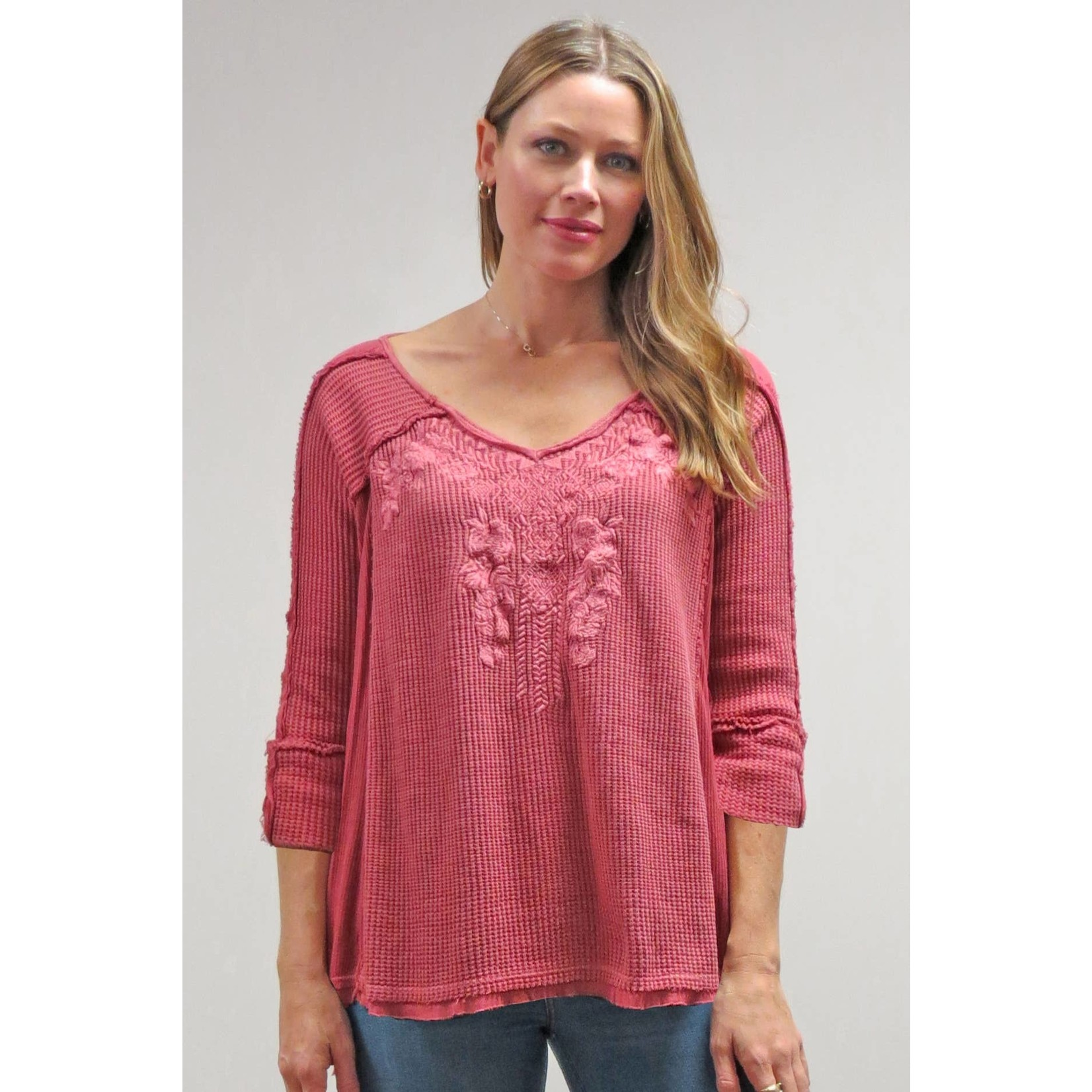Caite Arden Embr Waffle 3/4 Slv Top in Faded Rose