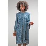 Caite Elyssa Long Slv Embr Front Dress In Blue