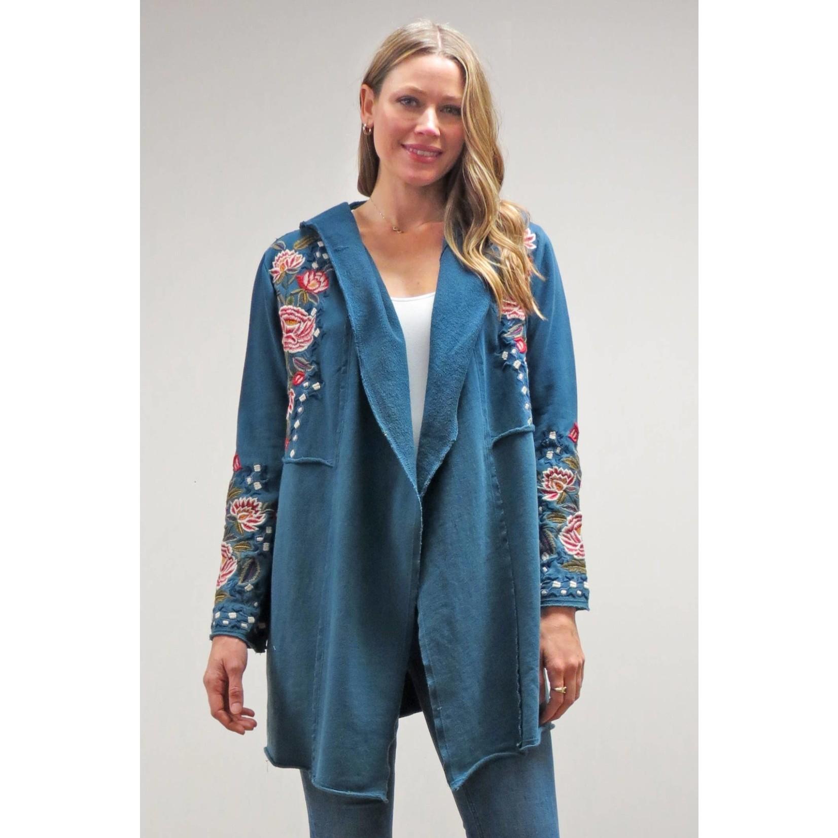 Caite Brenna Dk Teal Tye-Dye Hooded Jacket w/ Embr Detail