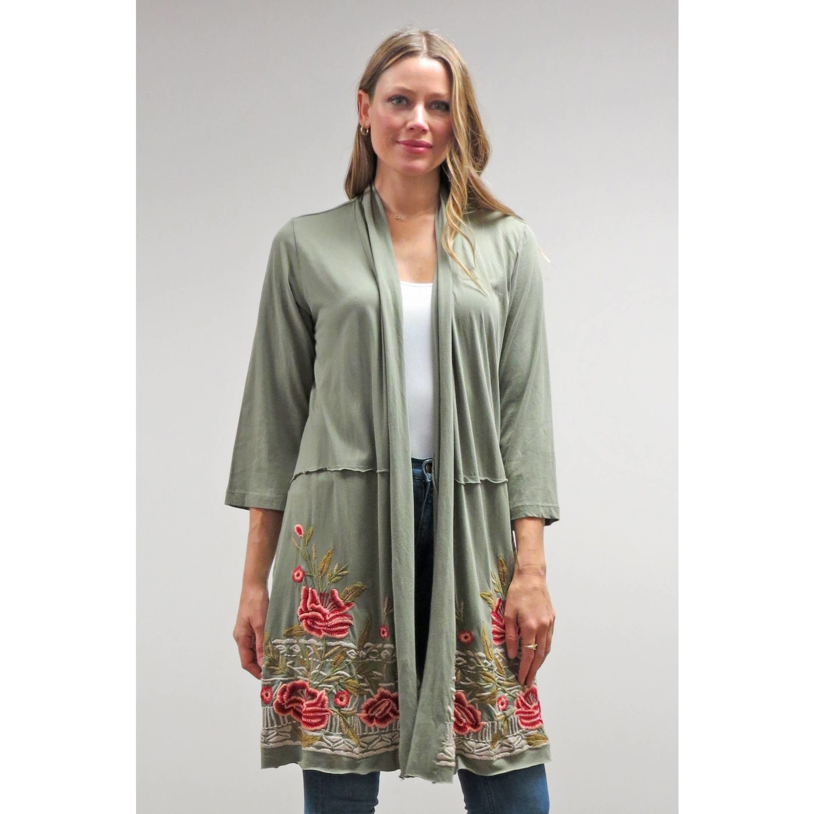 Caite Reese 3/ Slv Embr Bottom Jacket in Vintage Green