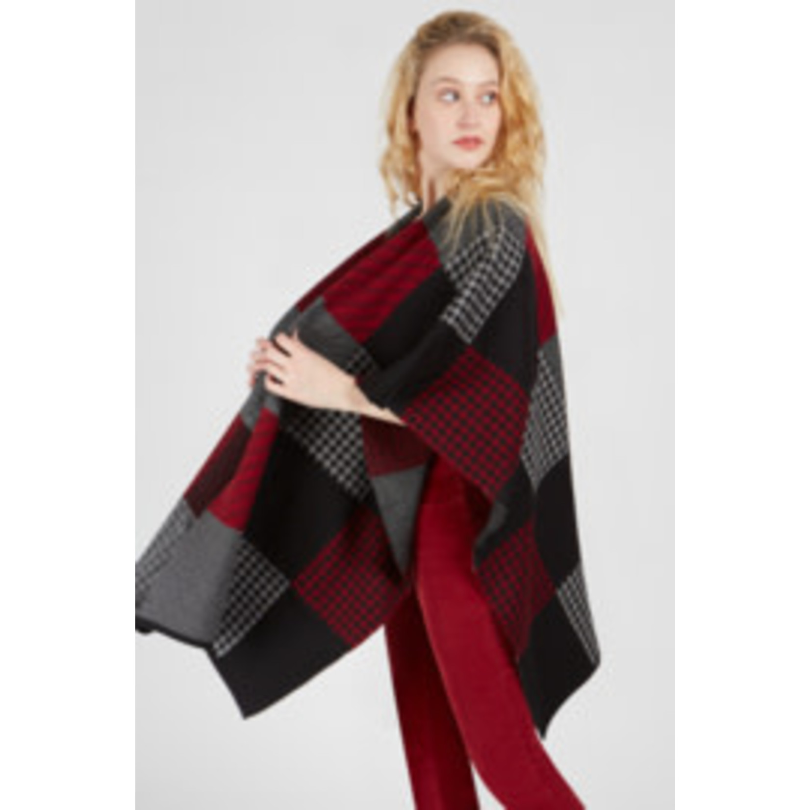 Hounds Tooth Color Block Cape in Red Velvet