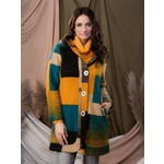 Color Block Coat w/Hood in Turq/Gold/Teal