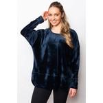 Sno Skin Plush Fleece Hi-Lo Pullover Top in Navy