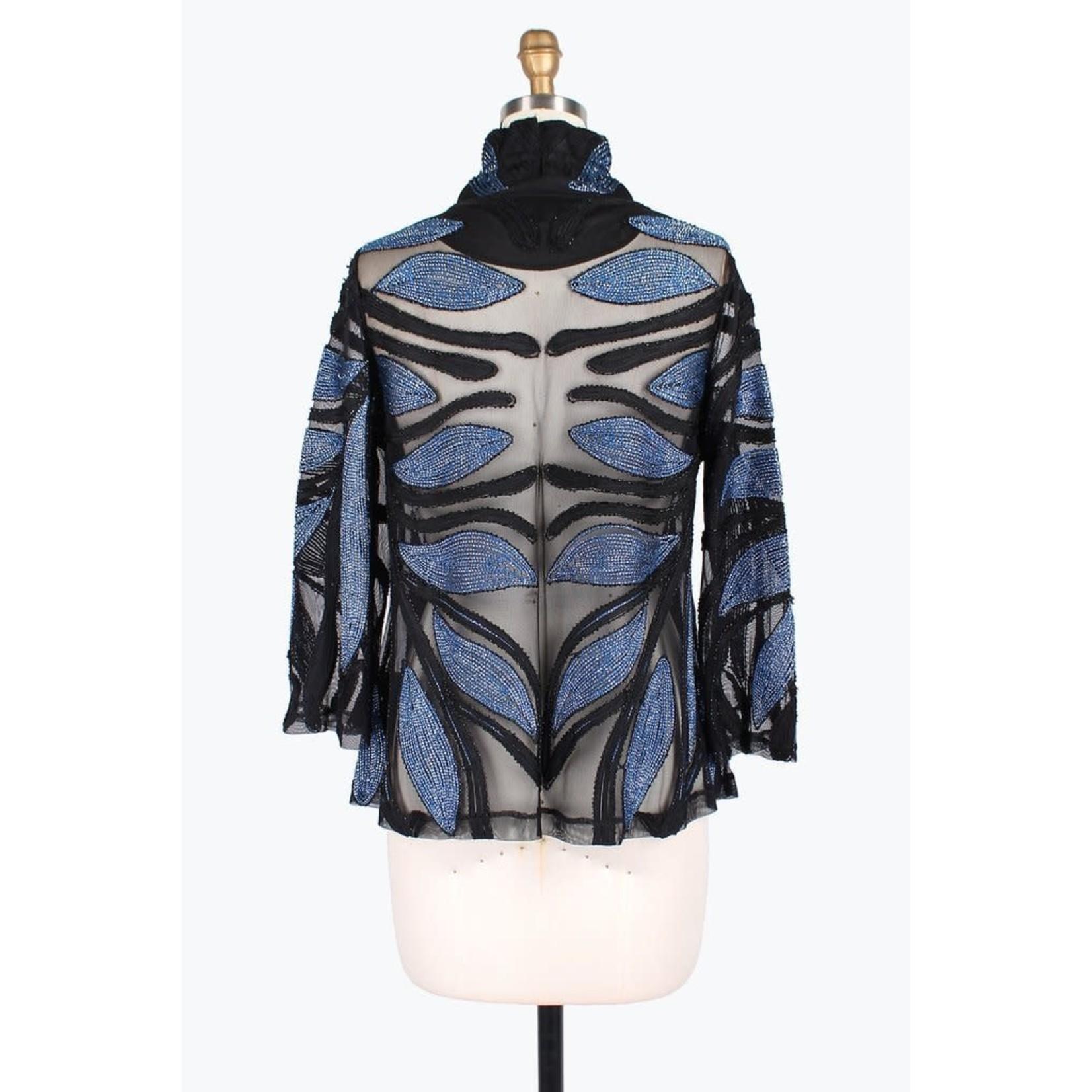 Damee Metallic Leaf Soutache Jacket in Blue