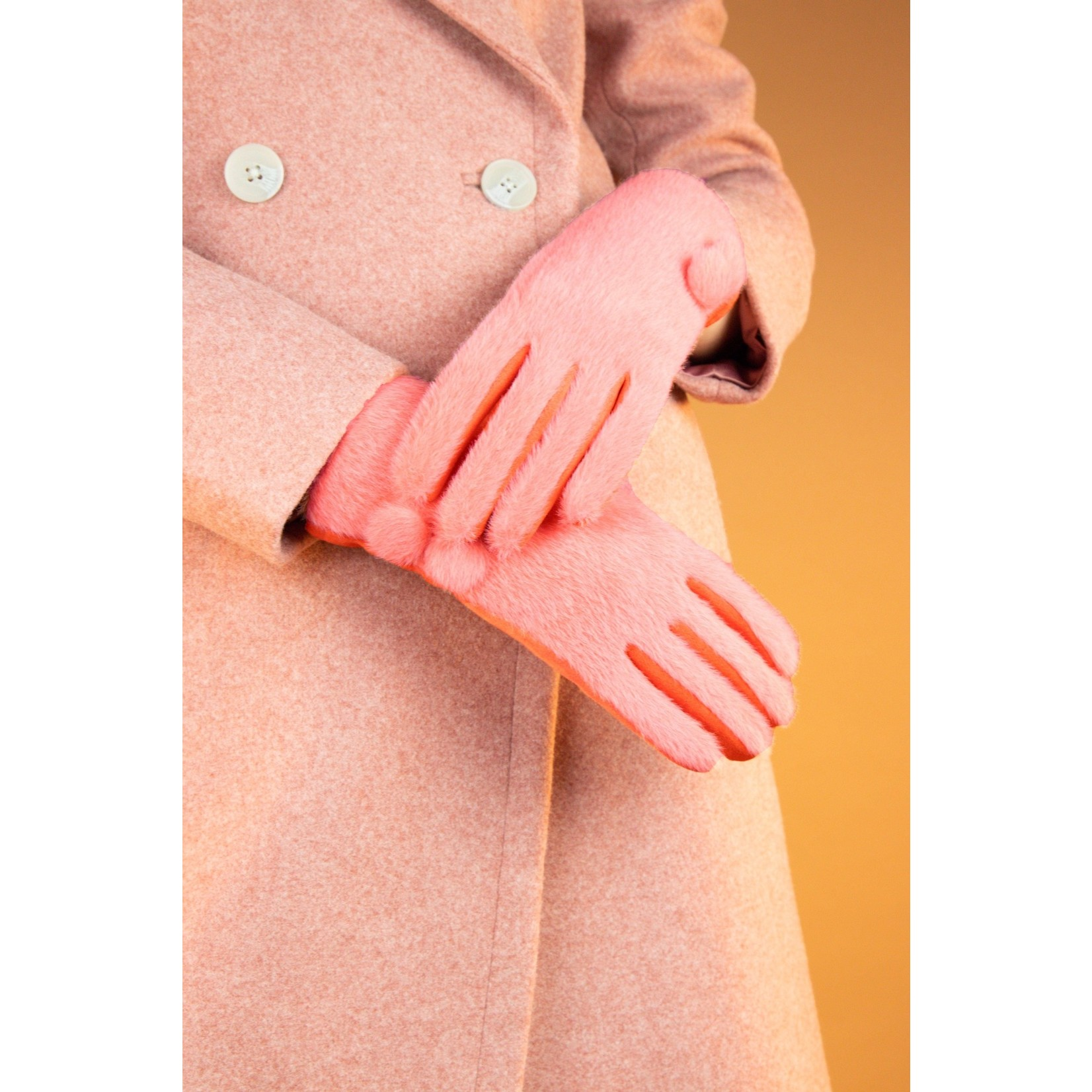 Powder Grace Brushed Faux Fur Gloves in Tangerine