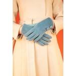 Powder Grace Brushed Faux Fur Gloves in Denim