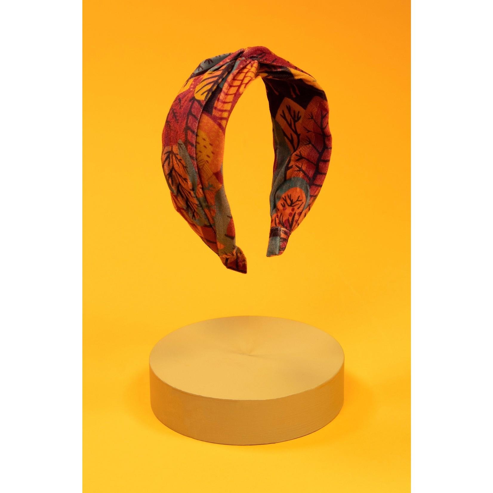 Powder Scandi Forest Printed Velvet Headband in Teal Mix